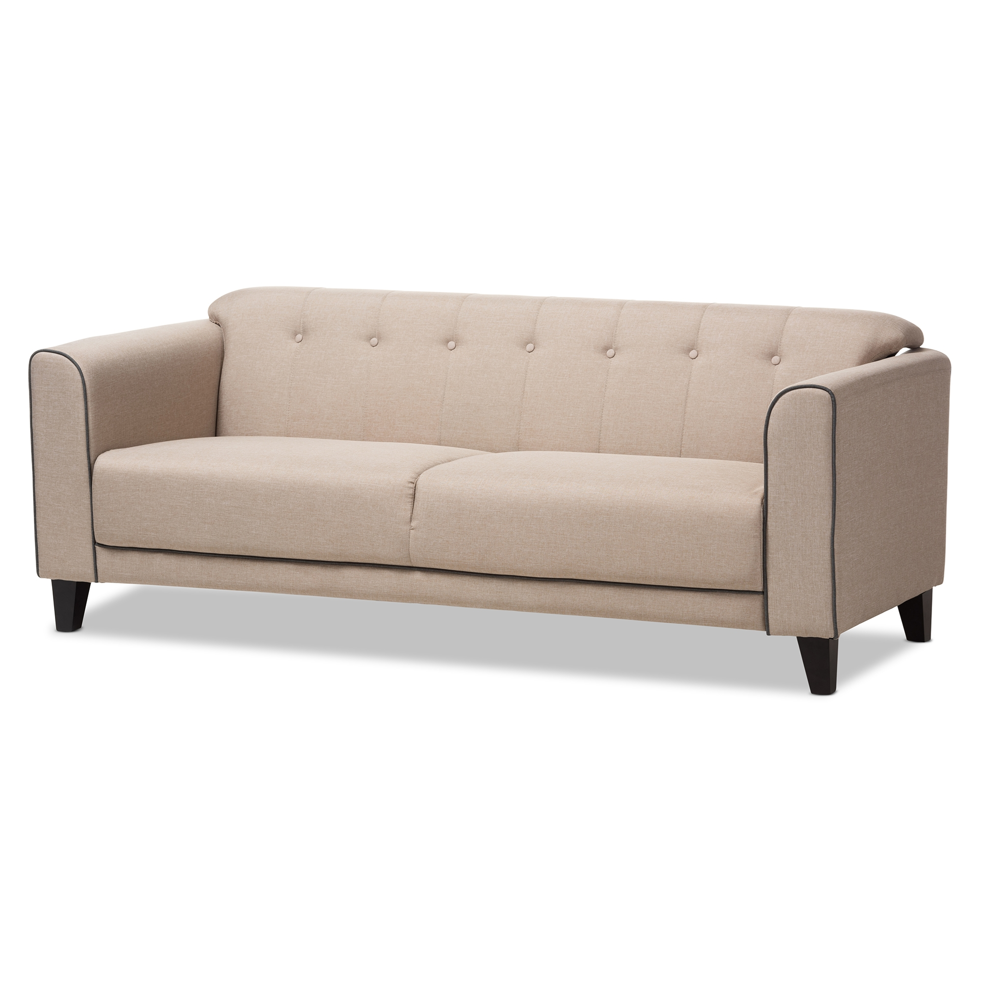 Baxton Studio Lottie Modern And Contemporary Beige Fabric Button Tufted  3 Seater Sofa Affordable