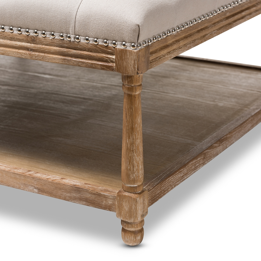 Baxton Studio Carlotta French Country Weathered Oak Beige Linen Square Coffee Table Ottoman