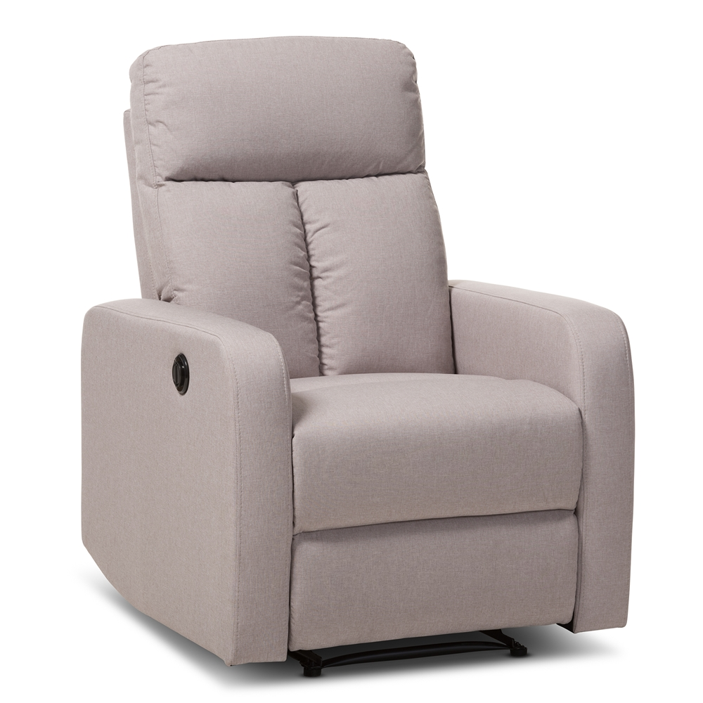 baxton studio garland modern and contemporary light brown fabric power recliner armchair affordable modern furniture in