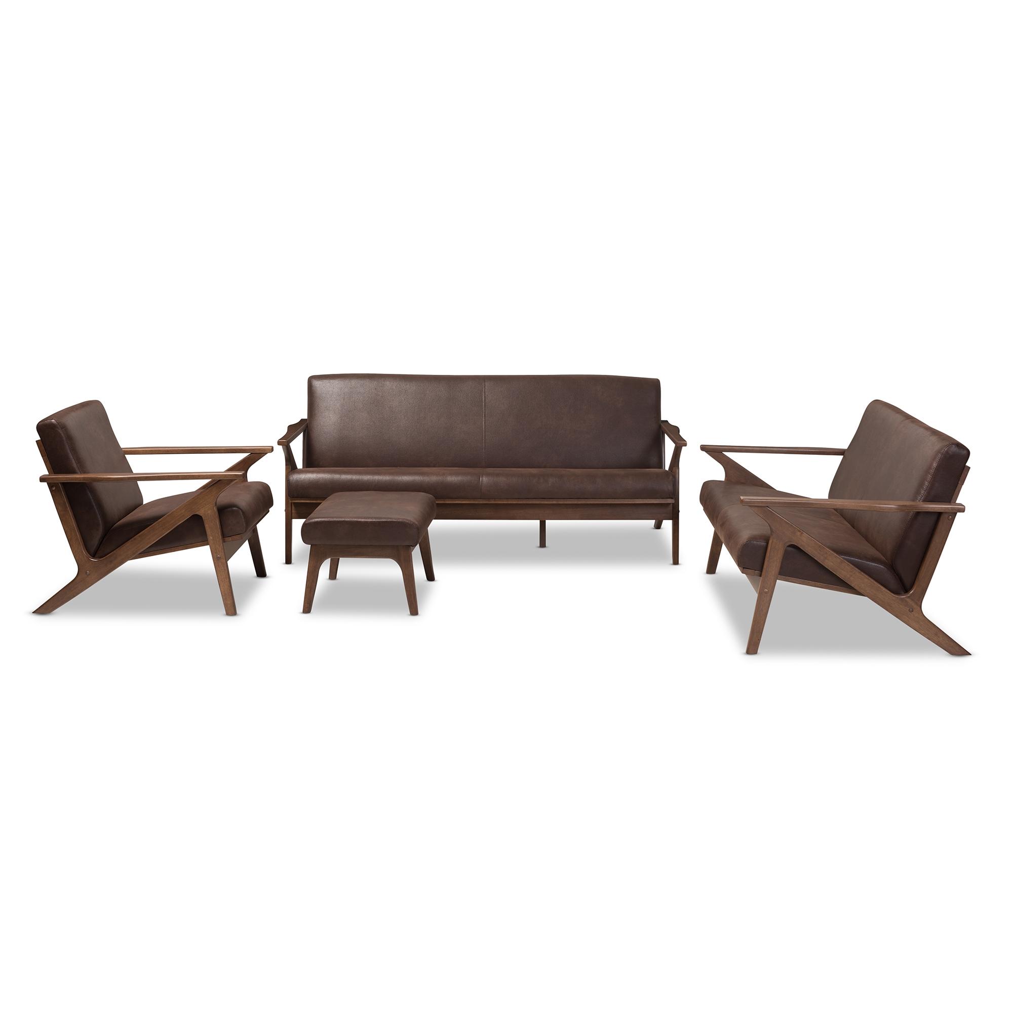 Baxton Studio Bianca Mid Century Modern Walnut Wood Dark Brown Distressed Faux Leather Livingroom Sofa Set