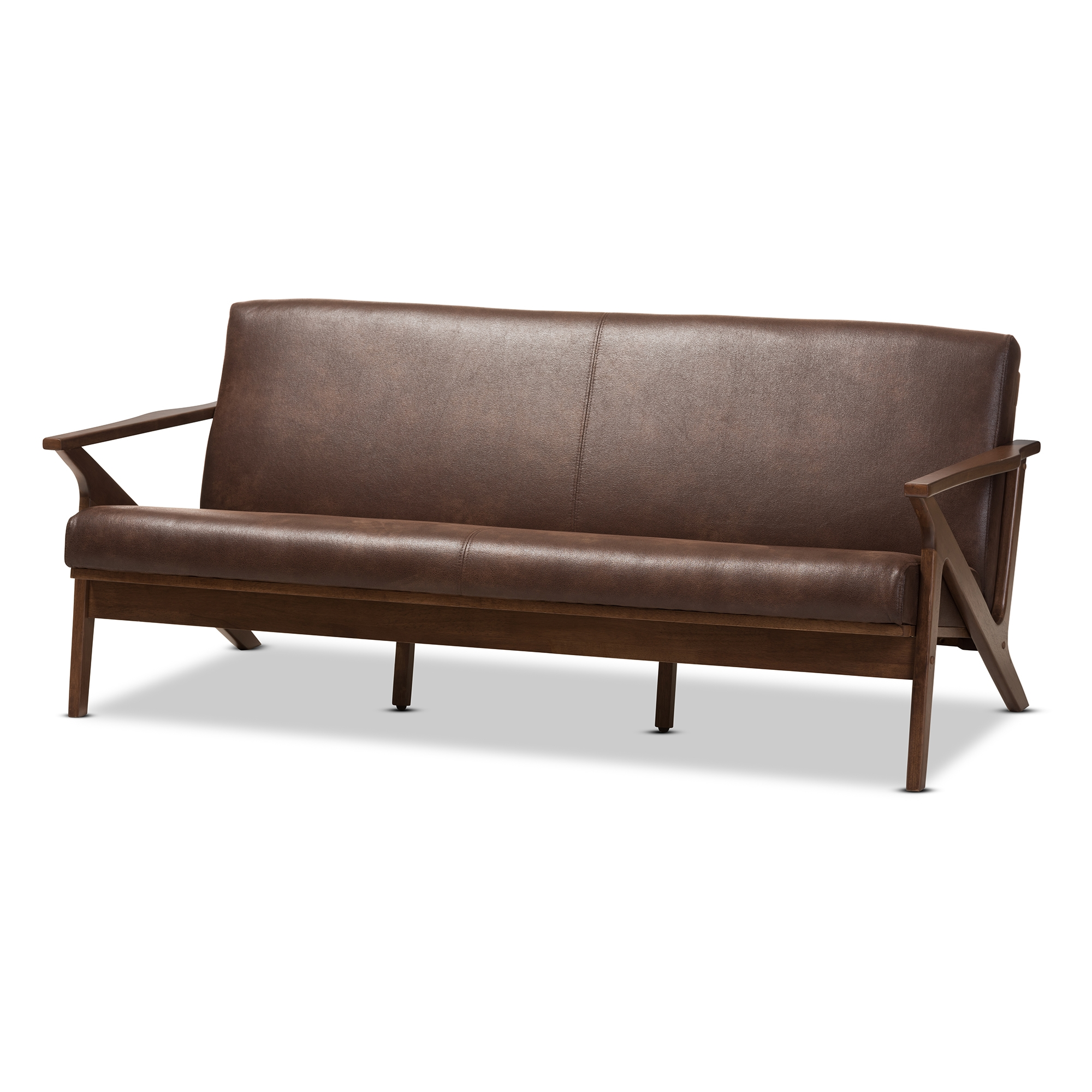 baxton studio bianca midcentury modern walnut wood dark brown distressed faux leather 3