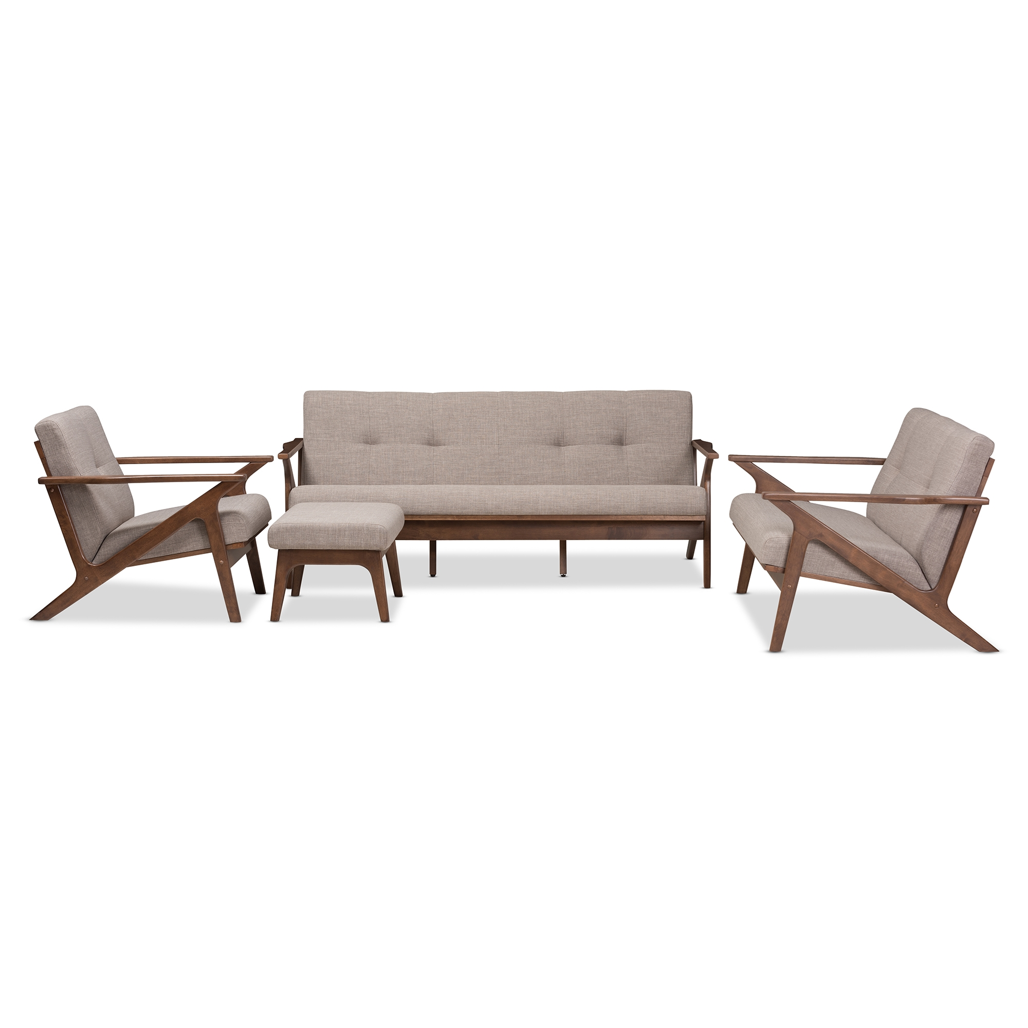 Baxton Studio Bianca Mid Century Modern Walnut Wood Light Grey Fabric  Tufted Livingroom Sofa Set