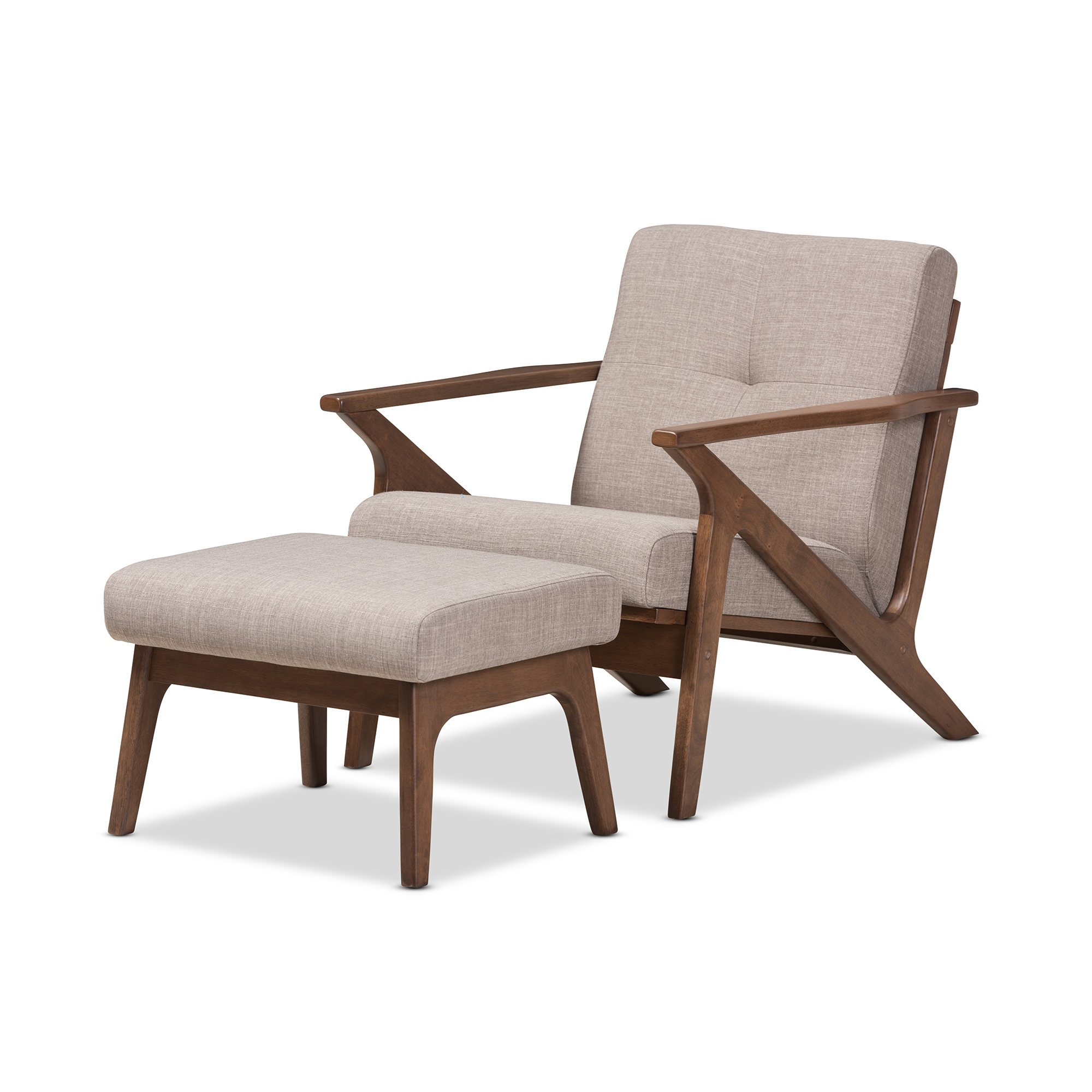 baxton studio bianca midcentury modern walnut wood light grey fabric tufted lounge chair and