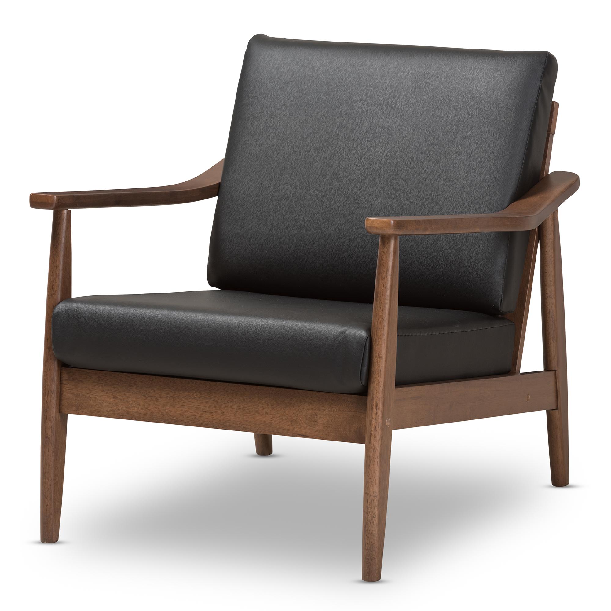 Baxton Studio Venza Mid Century Modern Walnut Wood Black Faux Leather  Lounge Chair
