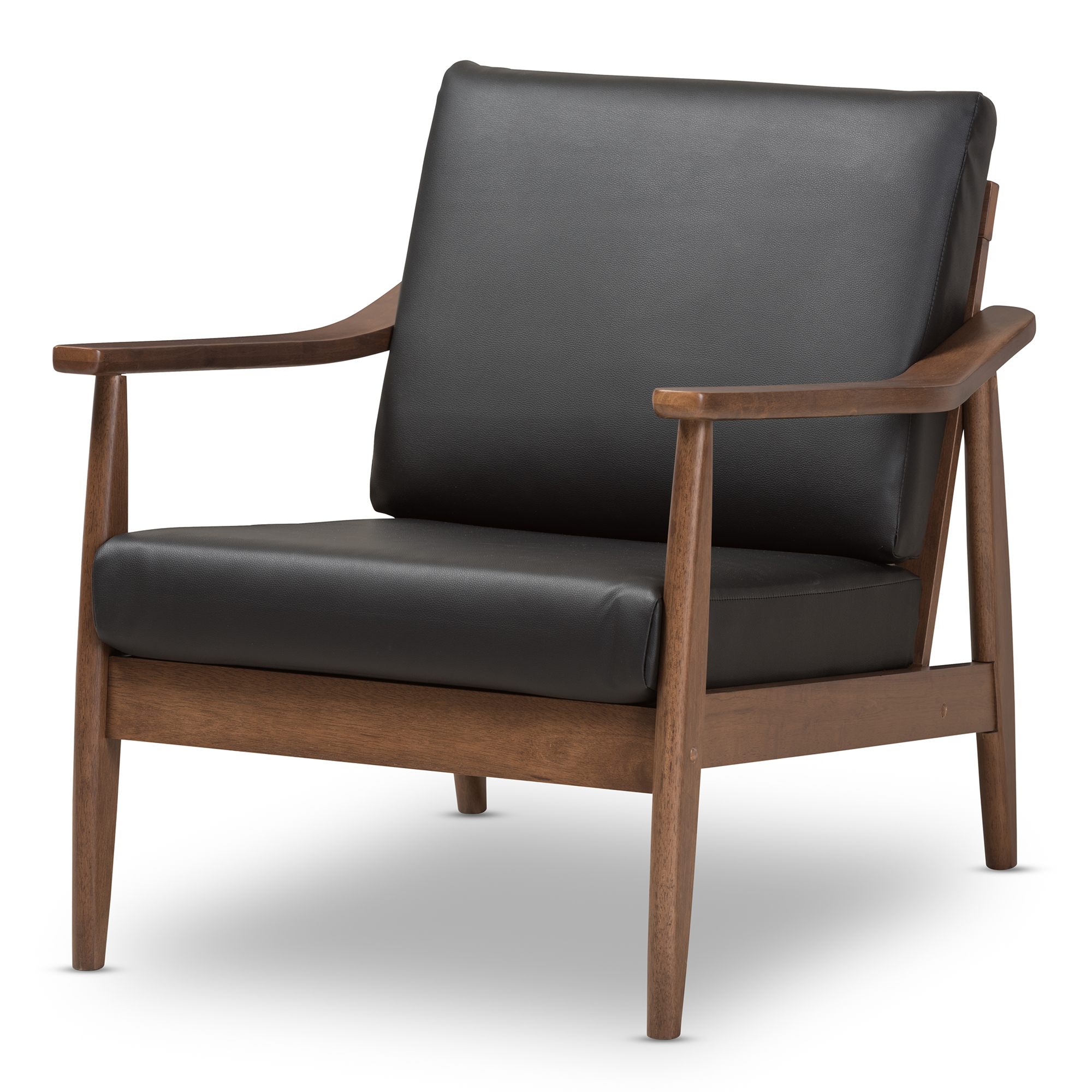 Baxton Studio Venza Mid Century Modern Walnut Wood Black Faux Leather  Lounge Chair Affordable Modern