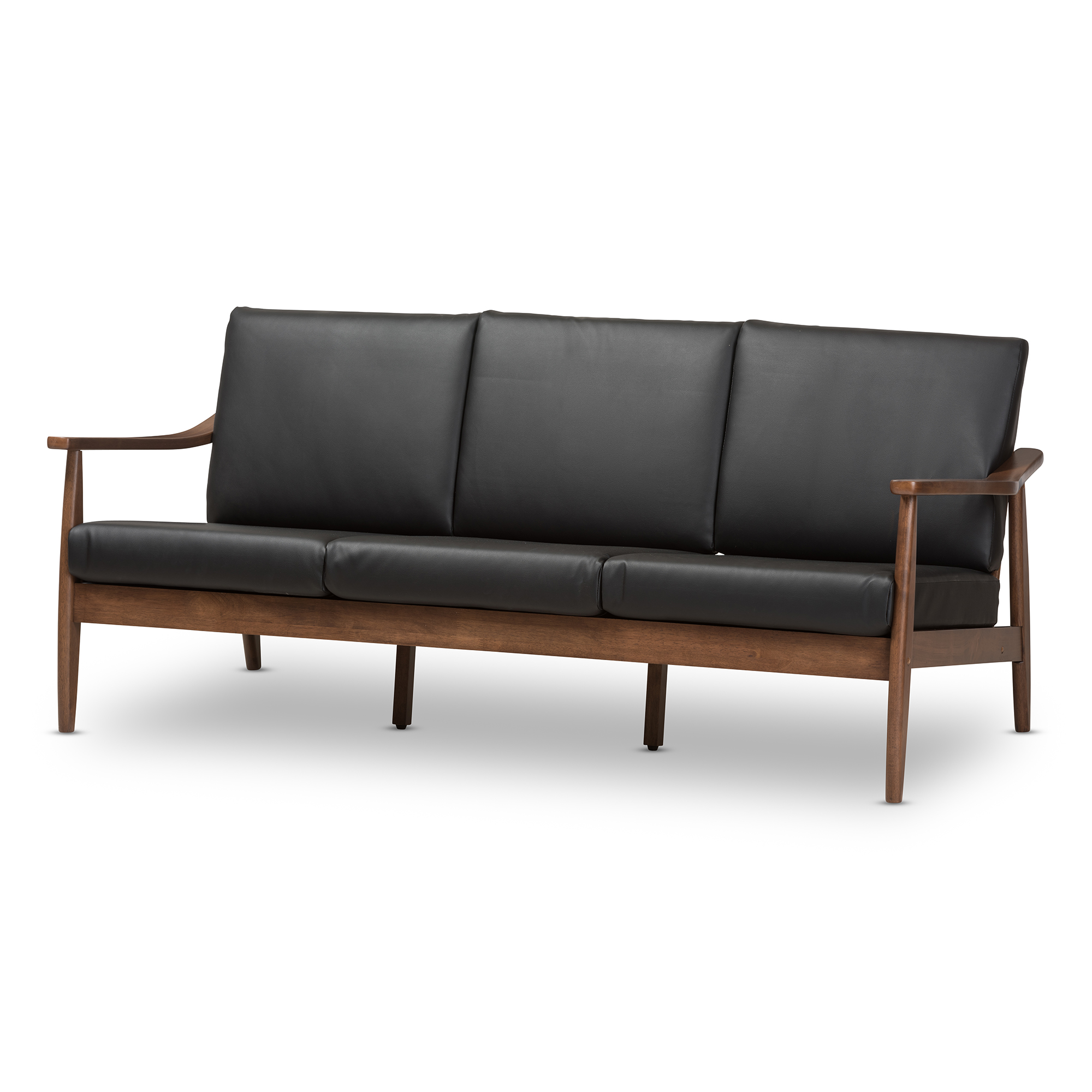 baxton studio venza midcentury modern walnut wood black faux leather 3seater sofa