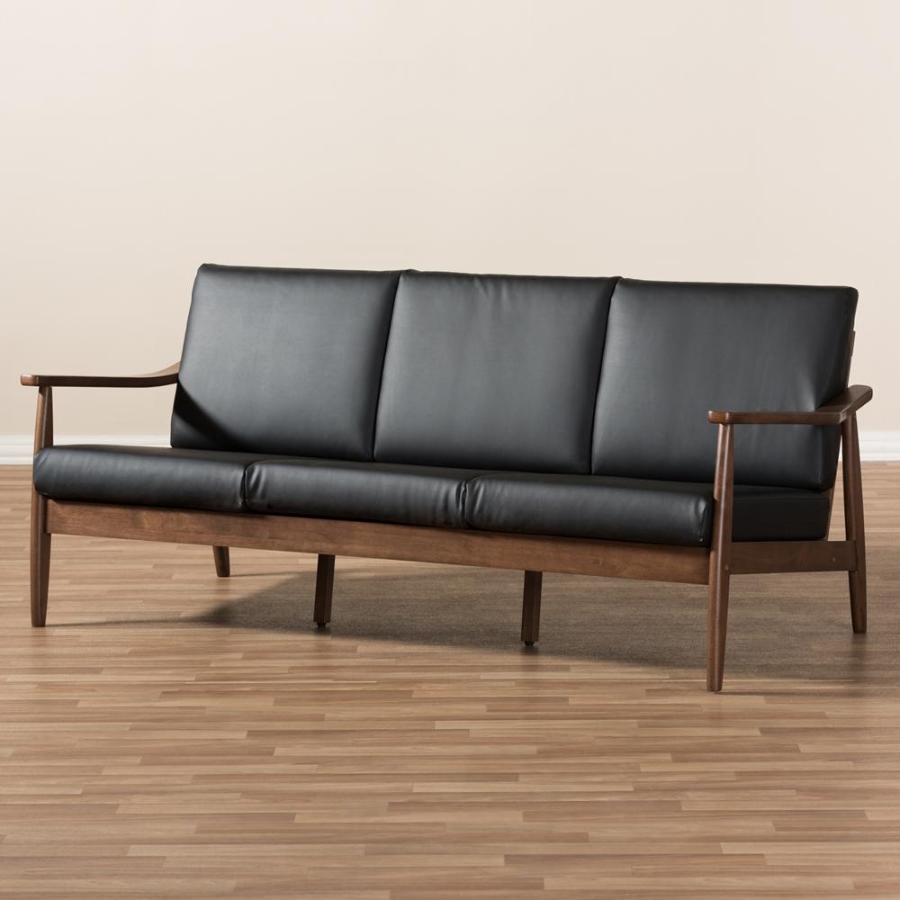 Black Mid Century Modern Sofas: Baxton Studio Venza Mid-Century Modern Walnut Wood Black