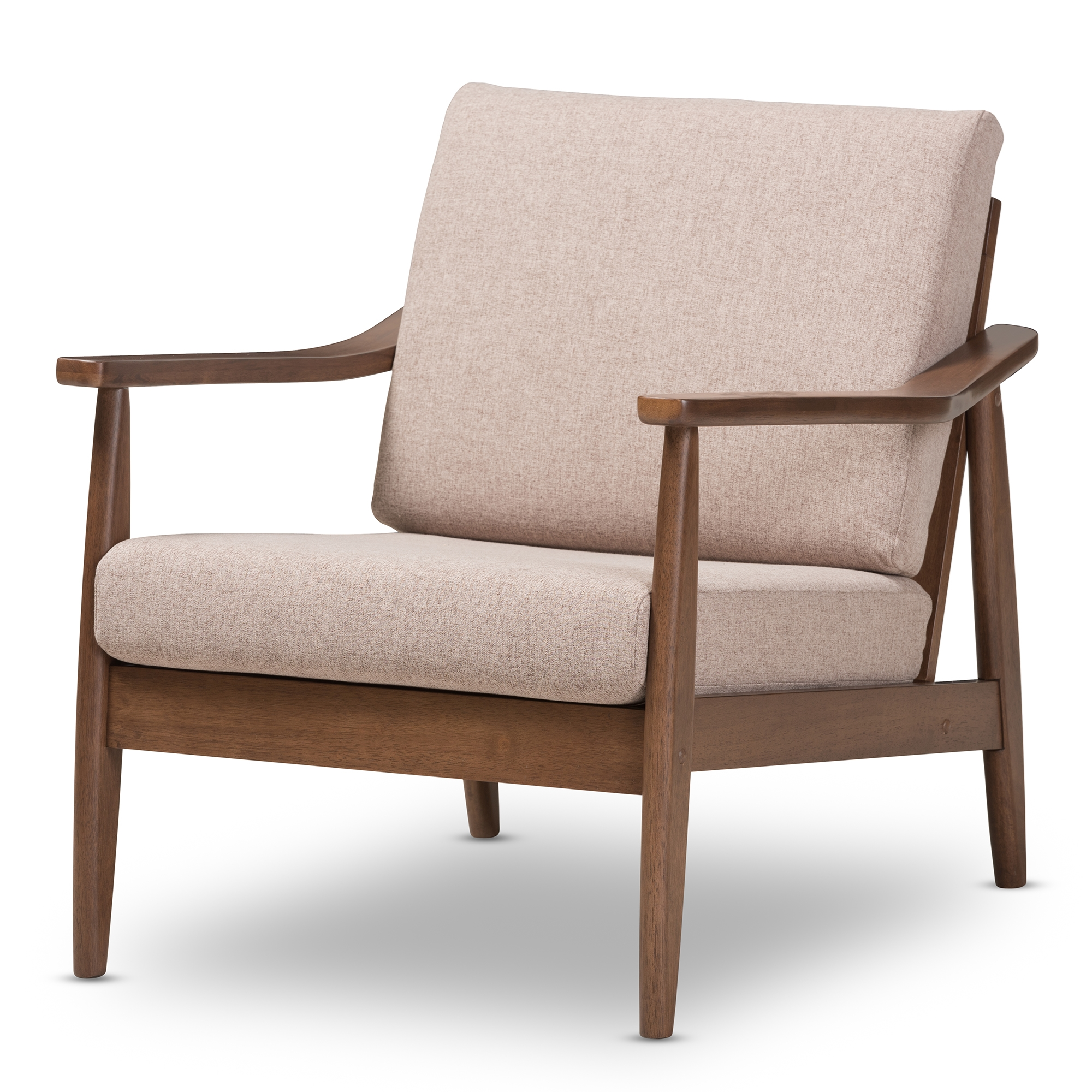baxton studio venza midcentury modern walnut wood light brown fabric upholstered lounge chair affordable