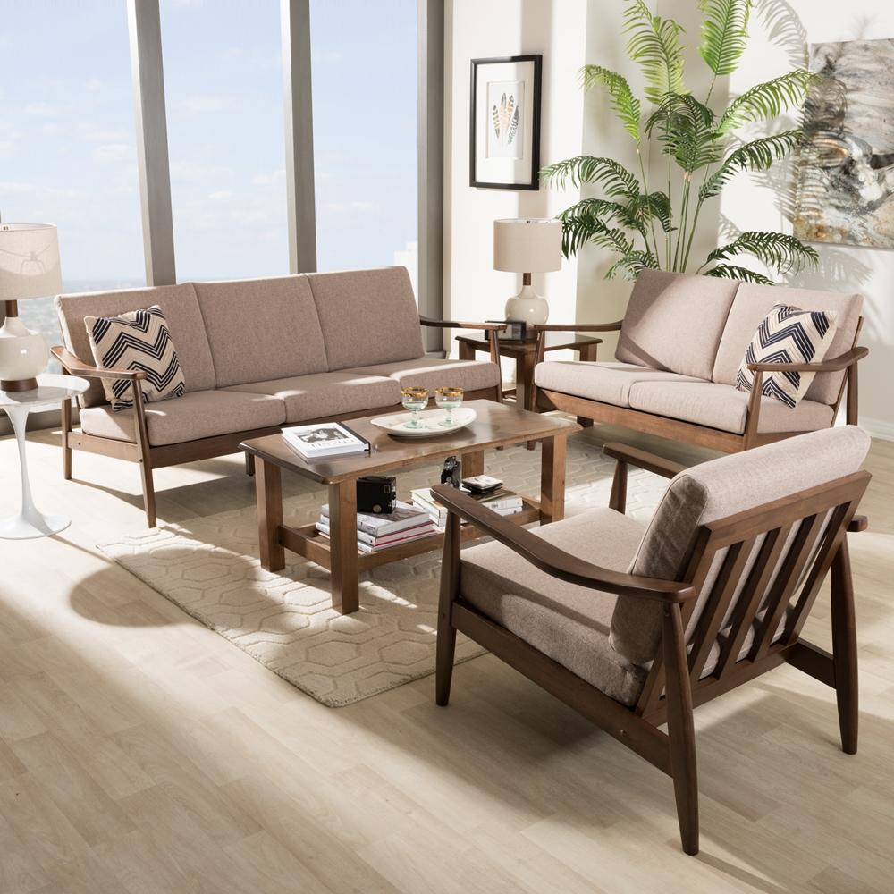 3 piece living room sets.  Baxton Studio Venza Mid Century Modern Walnut Wood Light Brown Fabric Upholstered 3 Piece