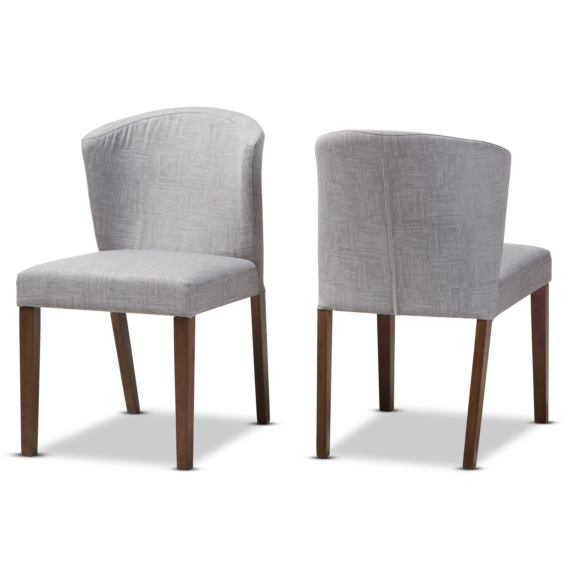 baxton studio cassie midcentury modern walnut wood light grey fabric dining chair affordable modern