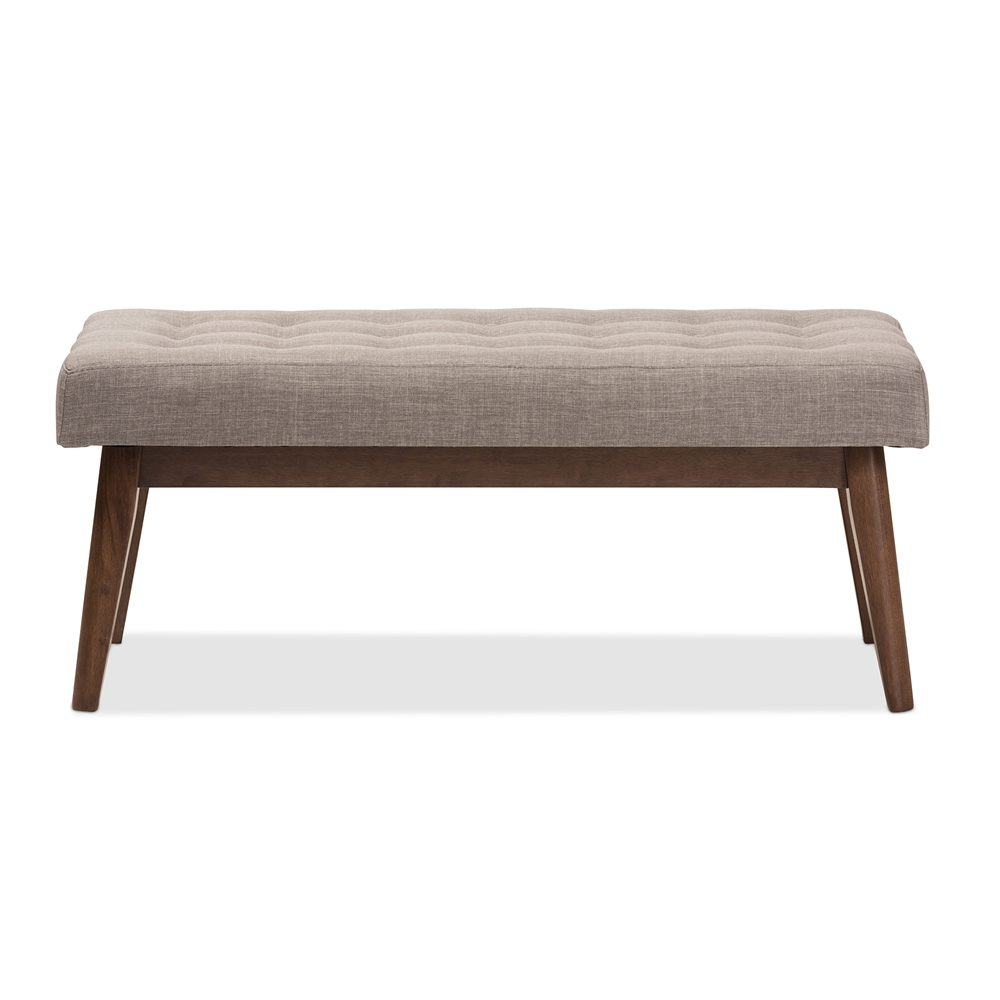 baxton studio elia midcentury modern walnut wood light grey fabricbuttontufted bench . baxton studio elia midcentury modern walnut wood light grey
