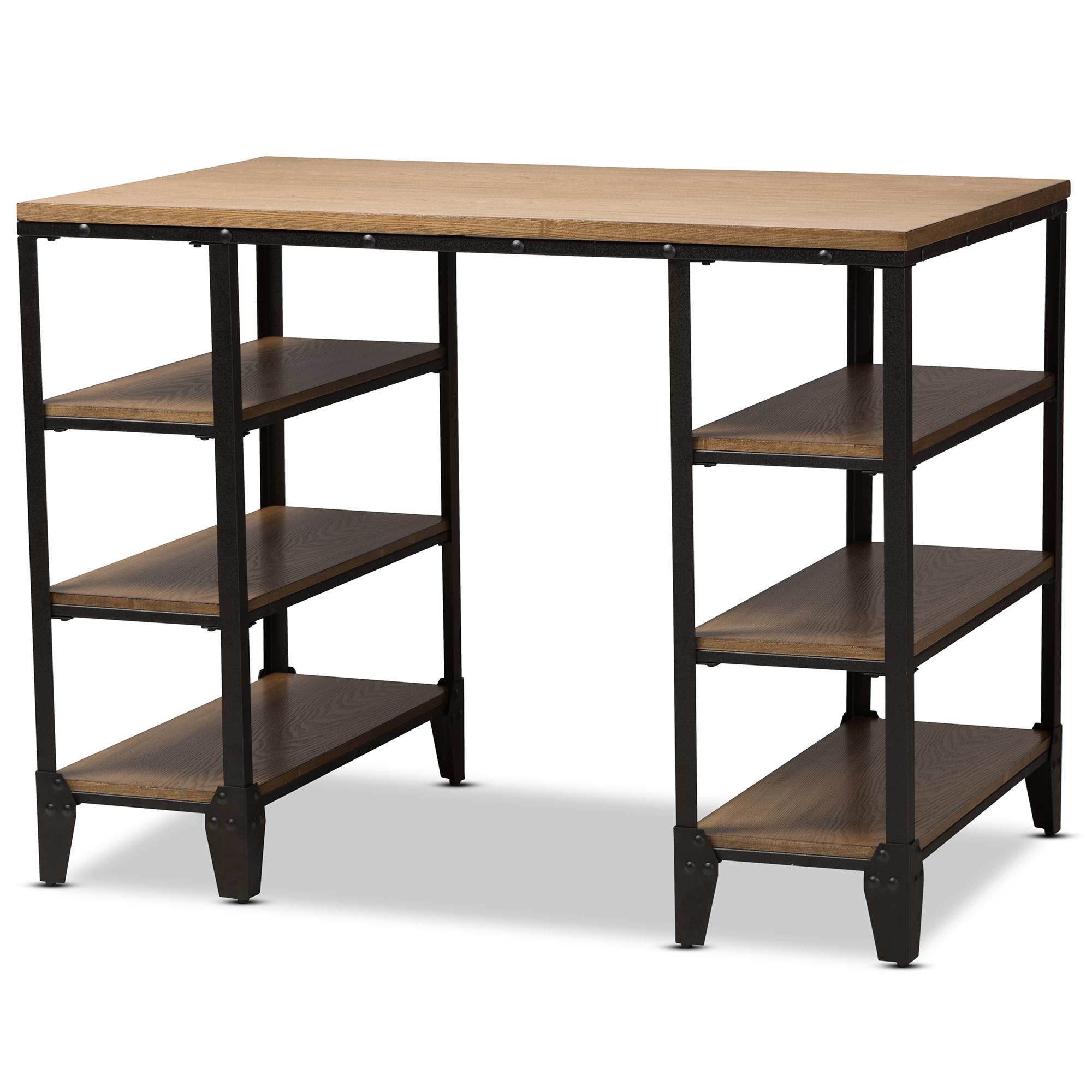 Baxton Studio Pepe Rustic Metal And Distressed Wood Storage Desk