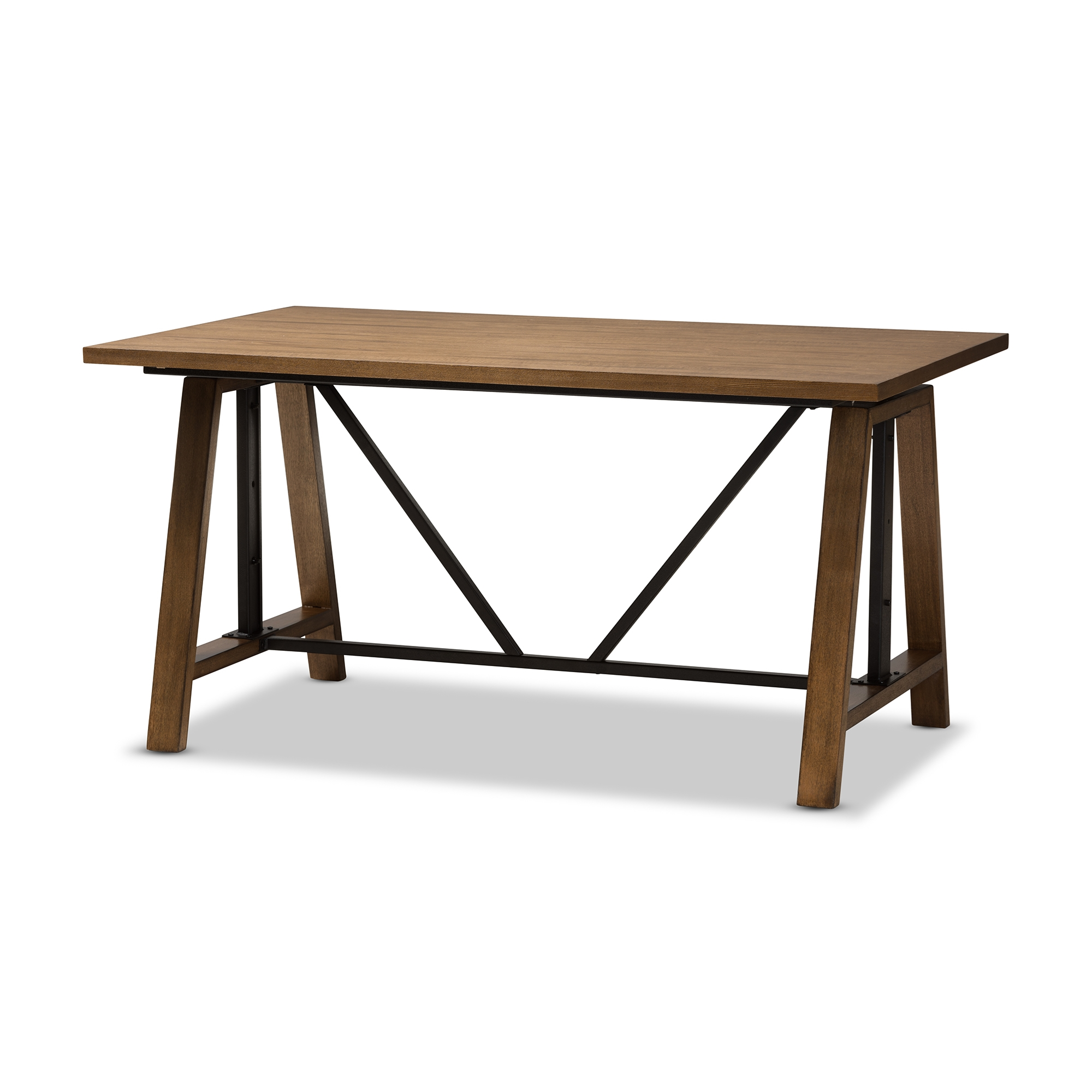 Baxton Studio Nico Rustic Industrial Metal And Distressed Wood Adjustable  Height Work Table Affordable Modern Furniture