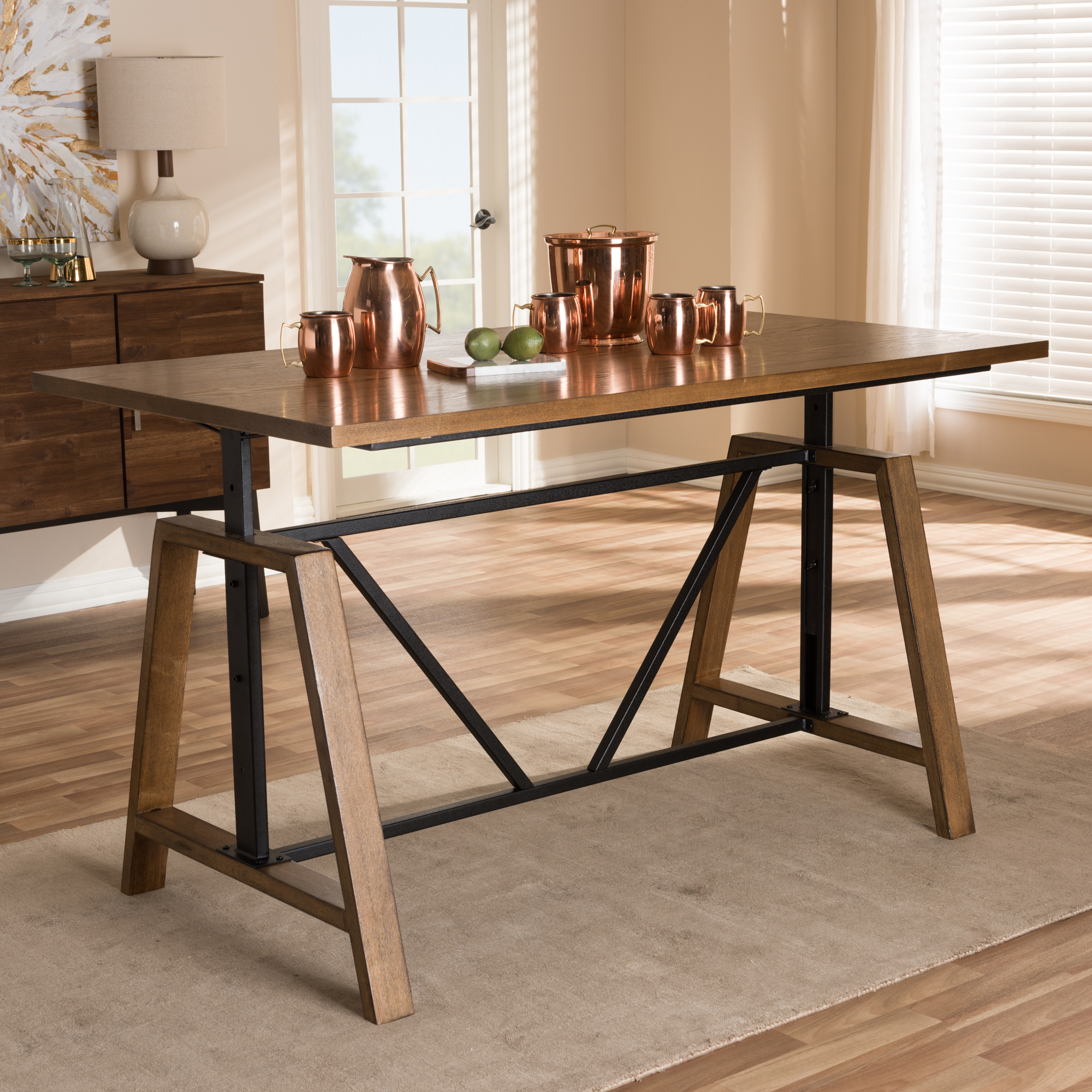... Baxton Studio Nico Rustic Industrial Metal And Distressed Wood  Adjustable Height Work Table   BSOYLX  ...