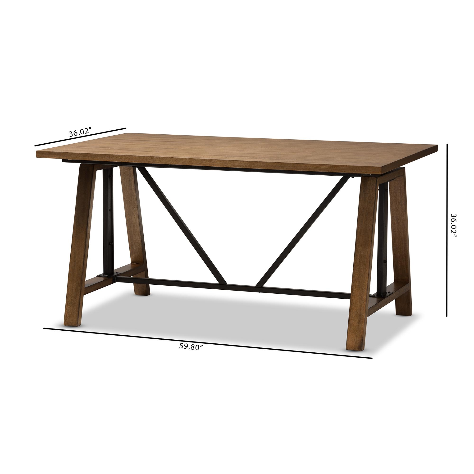 ... Baxton Studio Nico Rustic Industrial Metal And Distressed Wood  Adjustable Height Work Table   BSOYLX
