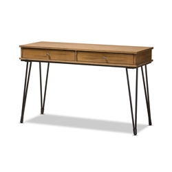 Baxton Studio Toma Rustic Industrial Metal and Distressed Wood 2-Drawer Storage Desk Affordable modern furniture in Chicago, classic home office furniture, modern desks, cheap study desks