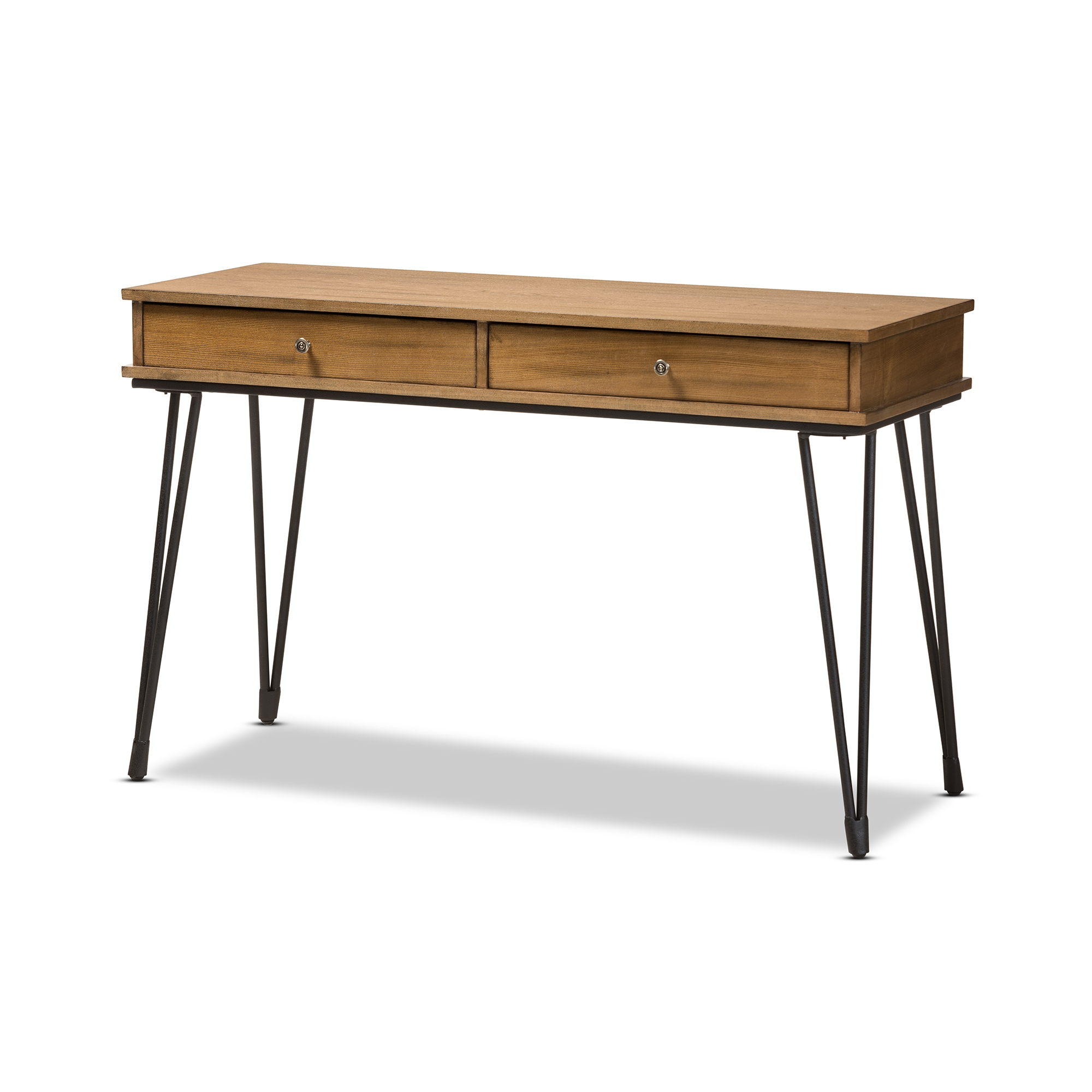 Baxton Studio Toma Rustic Industrial Metal And Distressed Wood 2 Drawer Storage  Desk Affordable Modern
