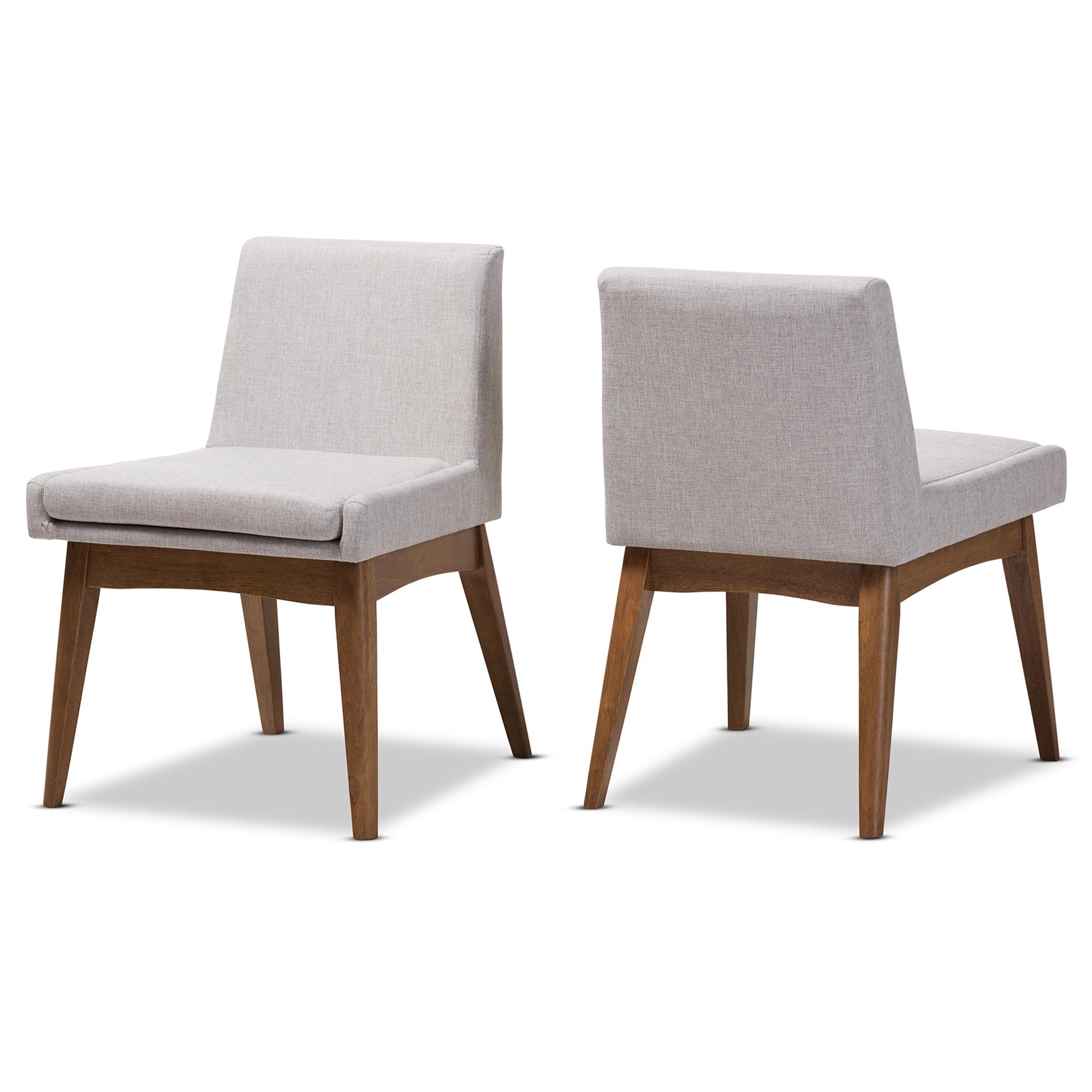 Baxton Studio Nexus Mid Century Modern Walnut Wood Finishing Greyish Beige  Fabric Dining Side Chair