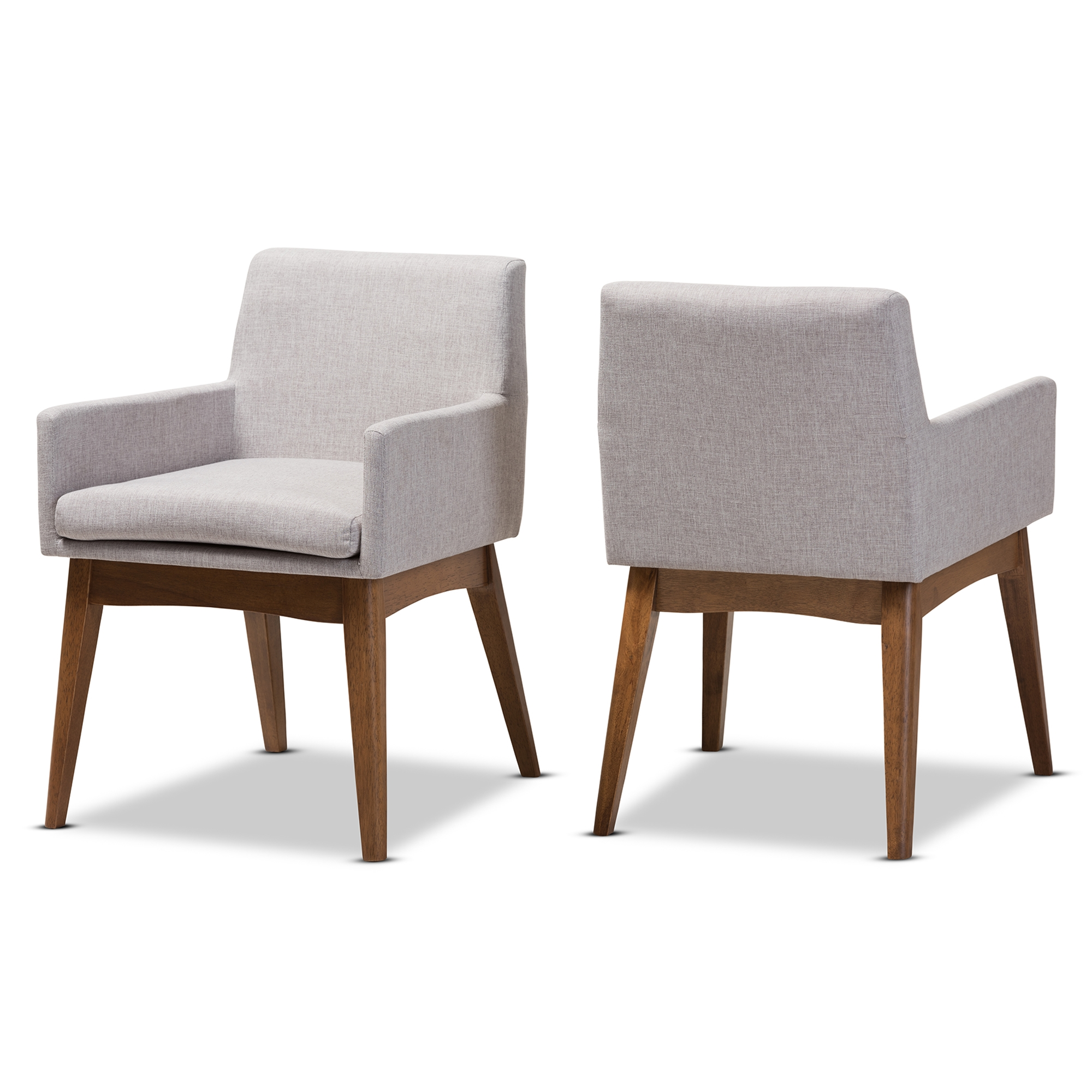 baxton studio nexus midcentury modern walnut wood finishing greyish beige fabric dining armchair affordable