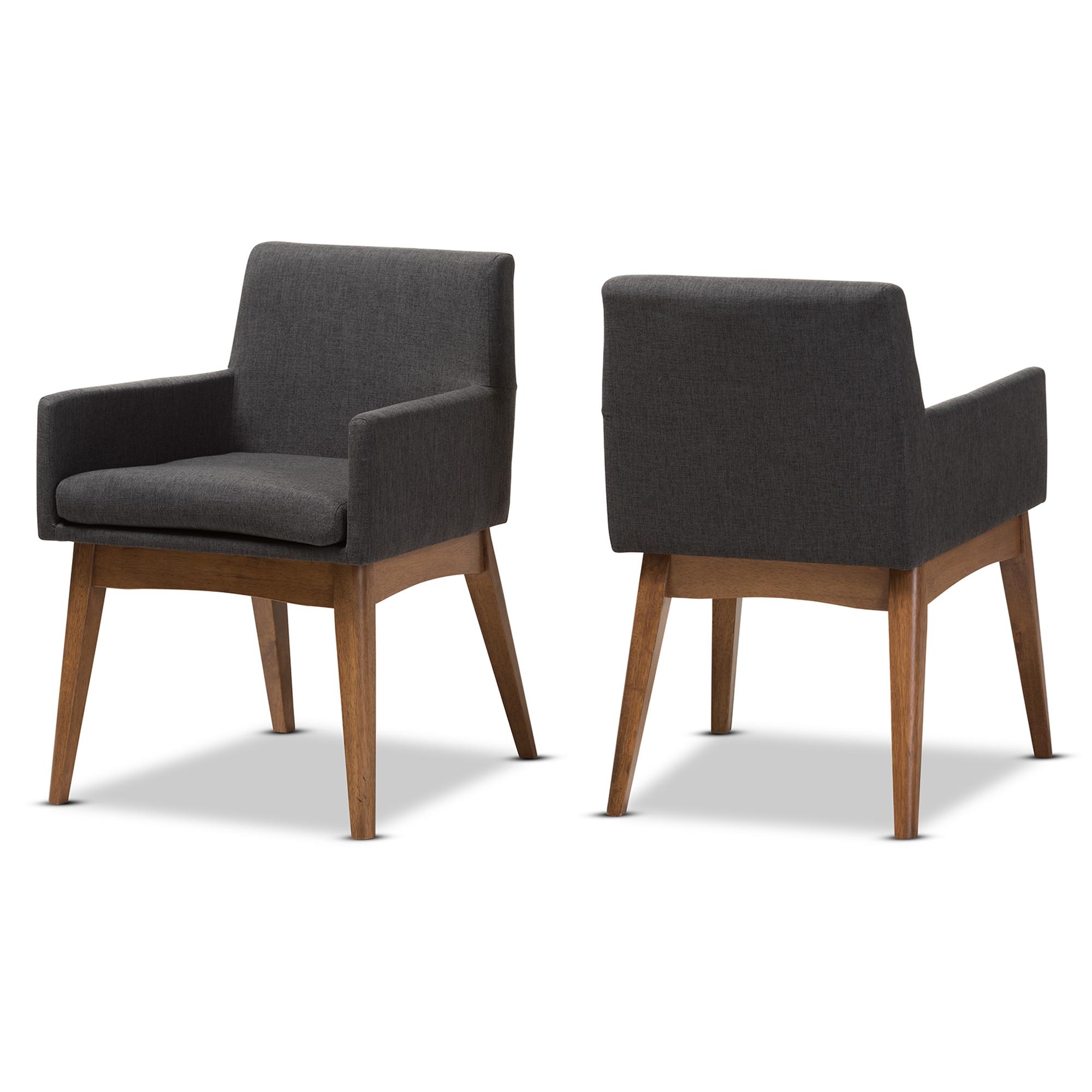 Baxton Studio Nexus Mid Century Modern Walnut Wood Finishing Dark Grey  Fabric Dining Armchair Affordable