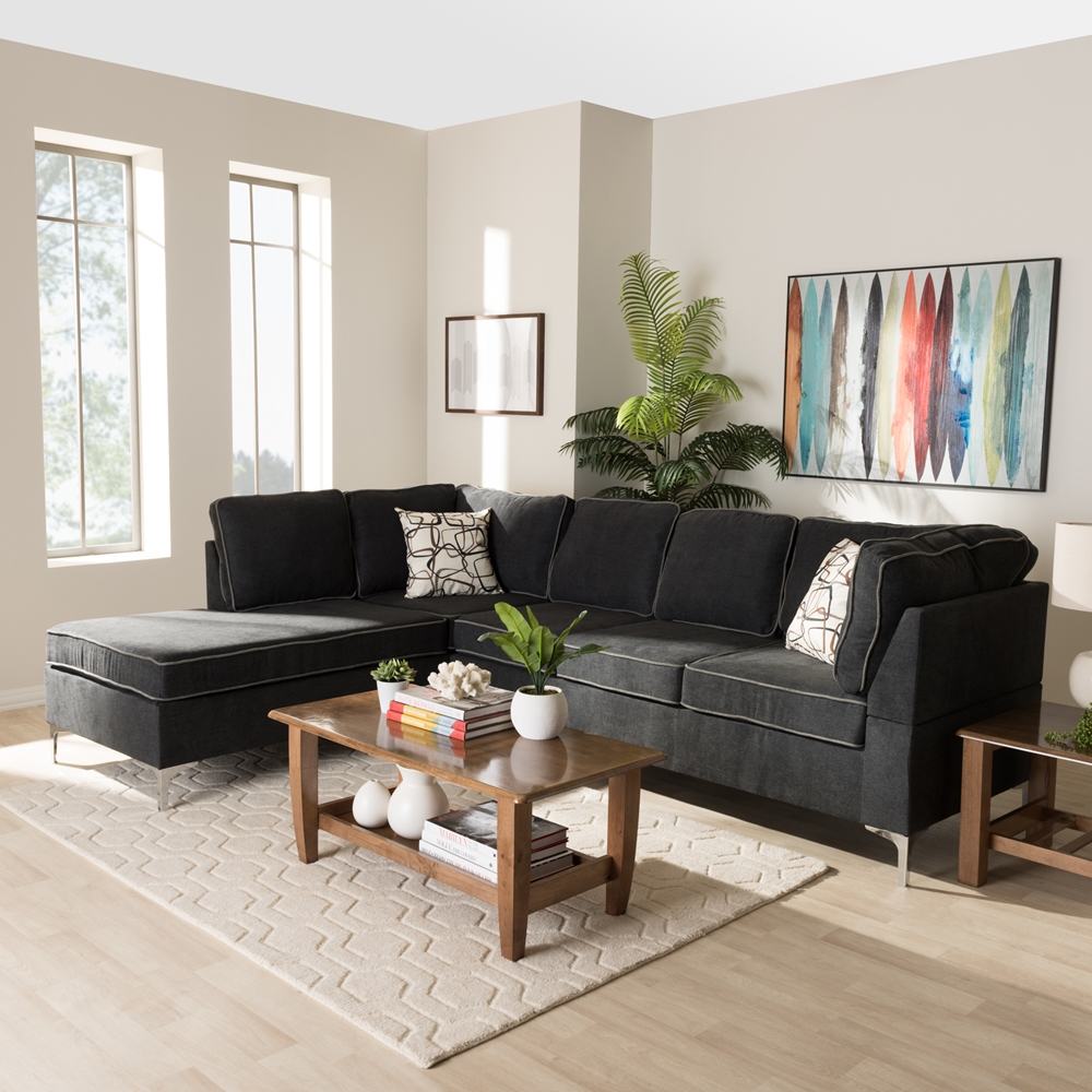 Modern Sectional Sofas Grey: Baxton Studio Richie Modern And Contemporary Two-Tone Dark