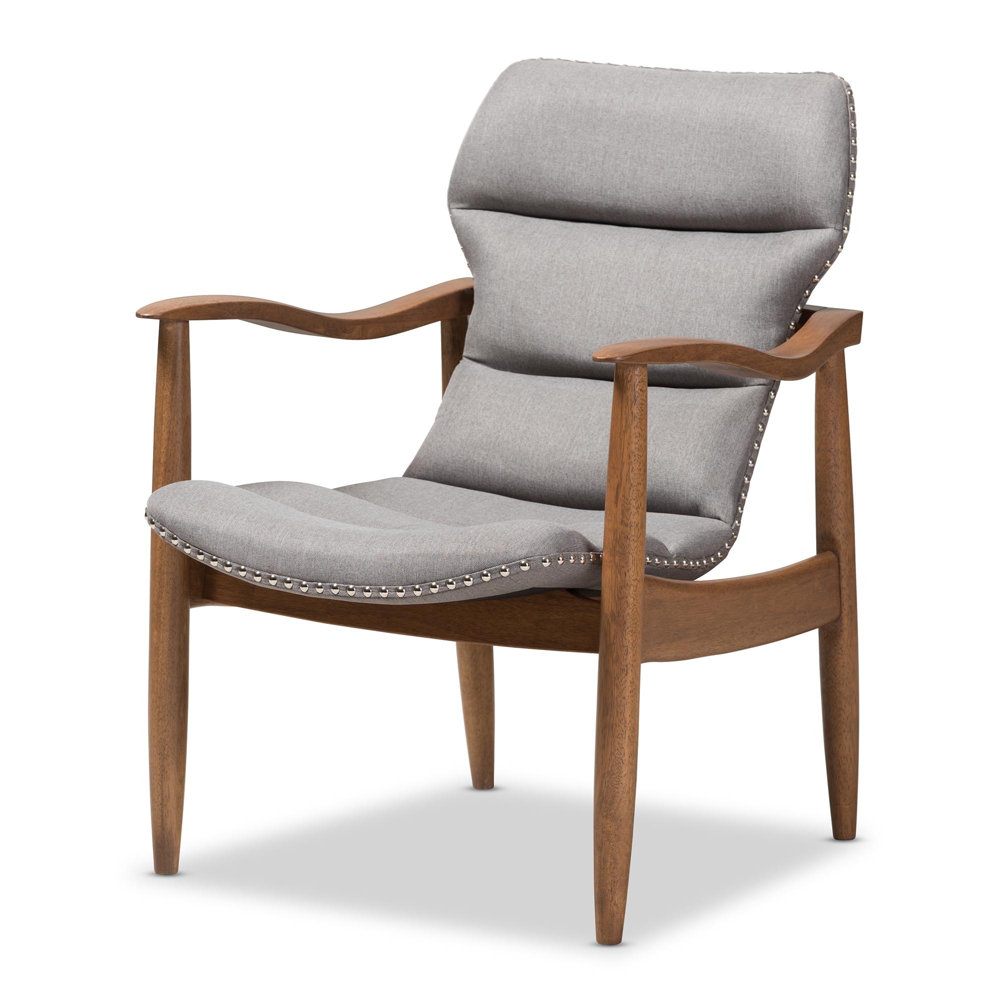 baxton studio hadley midcentury modern grey fabric and walnut brown finished wood lounge chair
