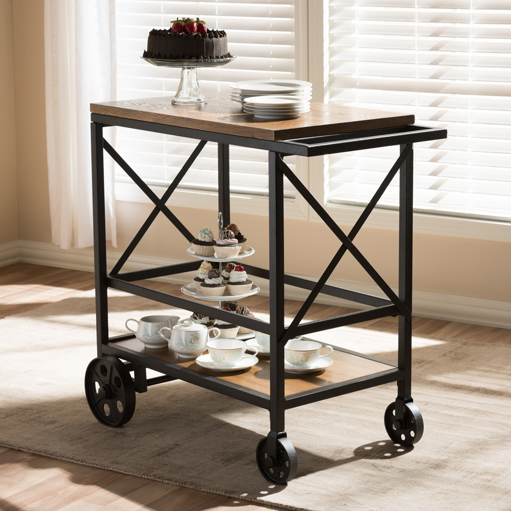 Baxton Studio Chester Rustic Industrial Style Oak Brown