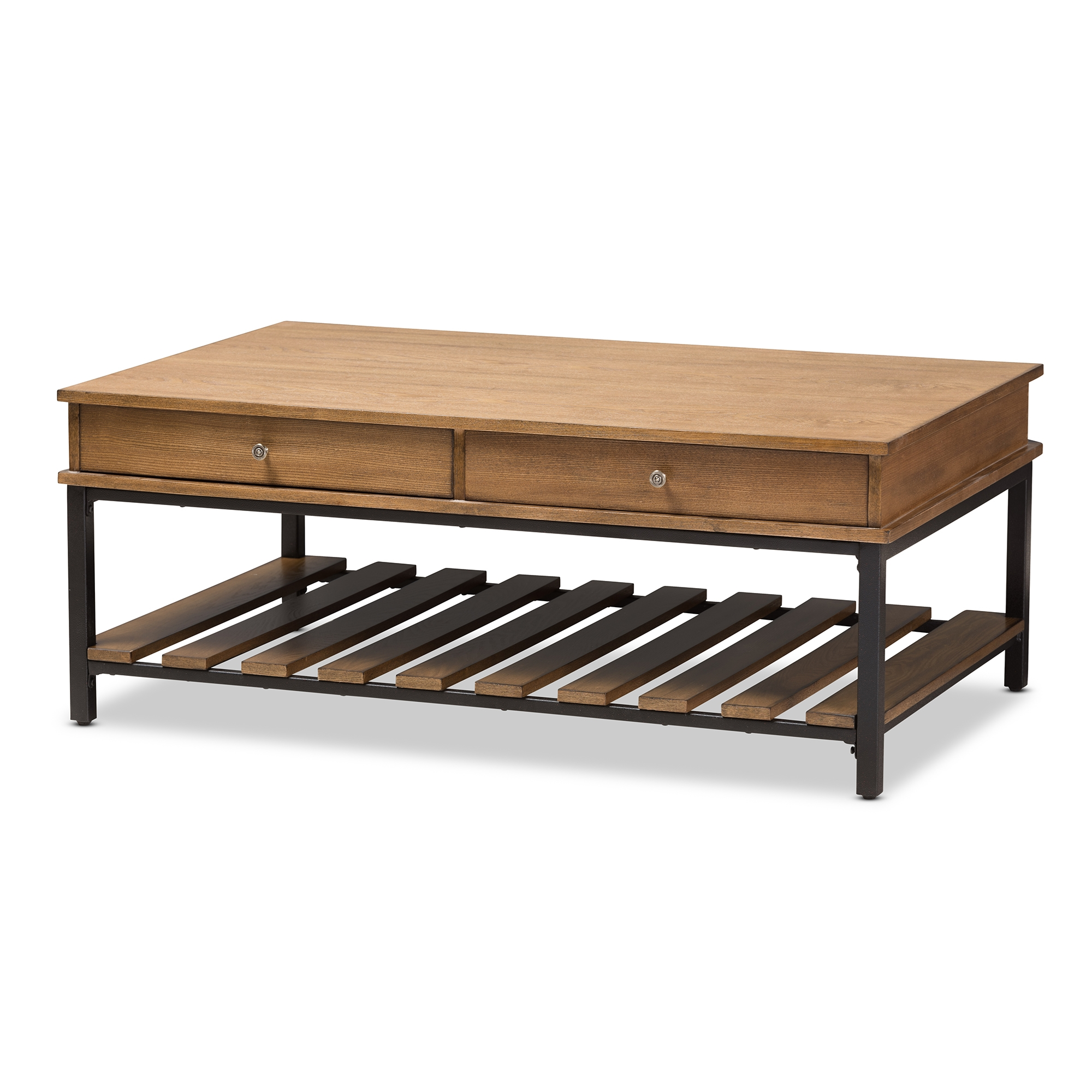 Baxton Studio Newcastle Rustic Industrial Style Oak Brown Finished Wood And  Black Finished Metal Coffee Table
