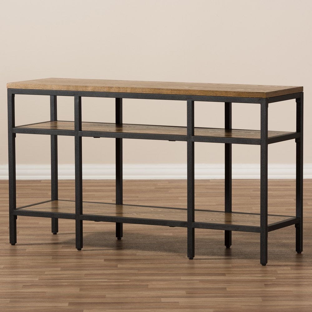 Baxton studio caribou rustic industrial style oak brown finished baxton studio caribou rustic industrial style oak brown finished wood and black finished metal console table geotapseo Gallery