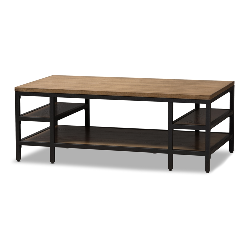 Baxton studio caribou rustic industrial style oak brown finished baxton studio caribou rustic industrial style oak brown finished wood and black finished metal coffee table geotapseo Choice Image