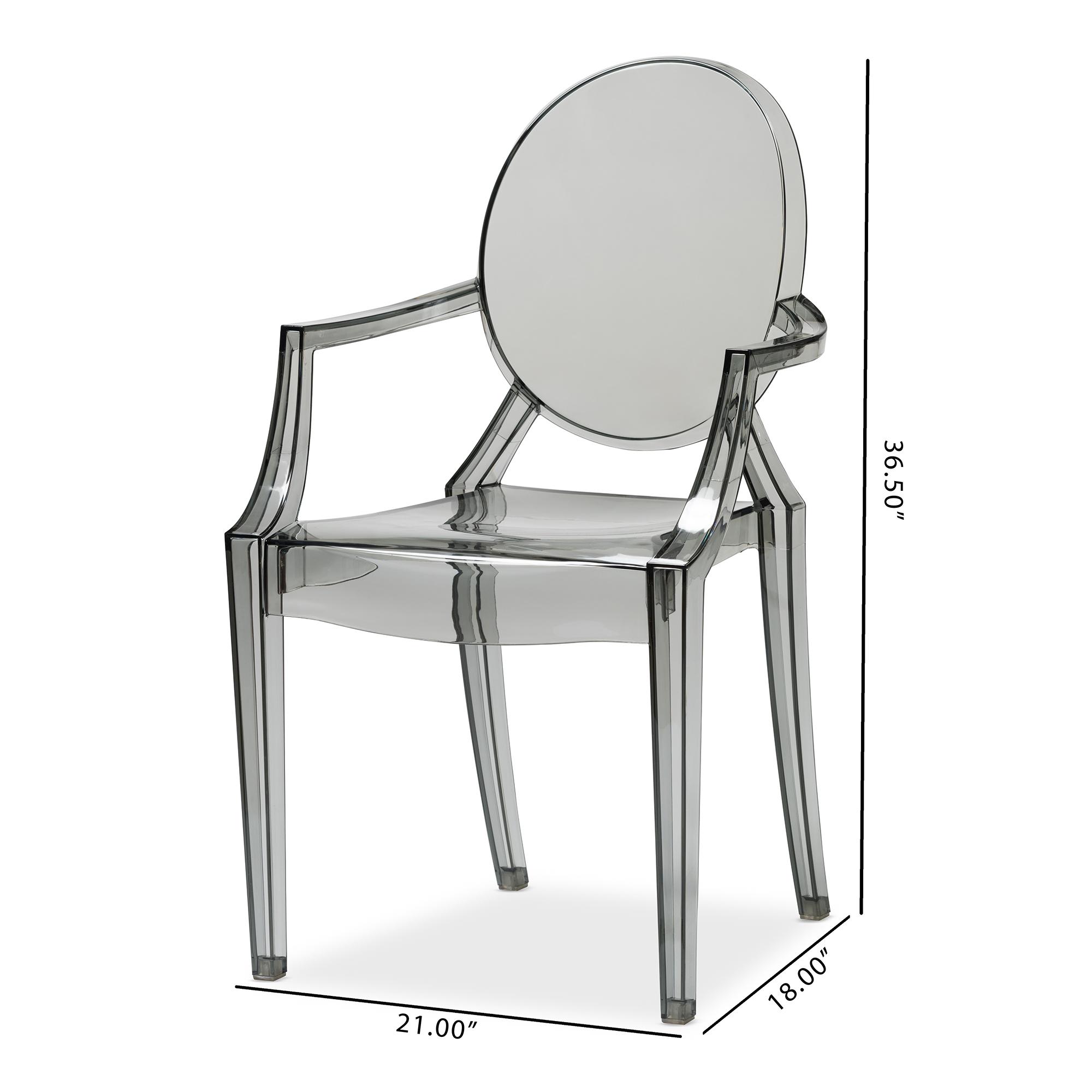 ... Baxton Studio Dymas Modern Smoke Acrylic Armed Ghost Chair (Set Of 2)    BSOPC