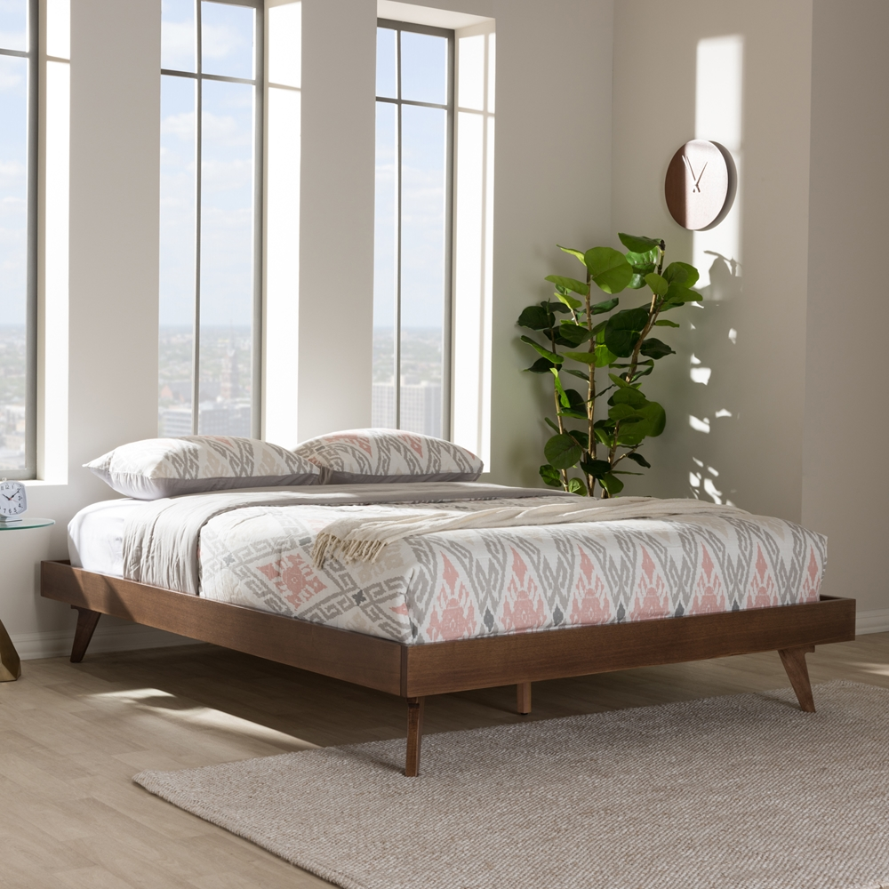 baxton studio jacob mid century modern walnut brown finished solid wood queen size bed frame - Wooden Queen Size Bed Frame