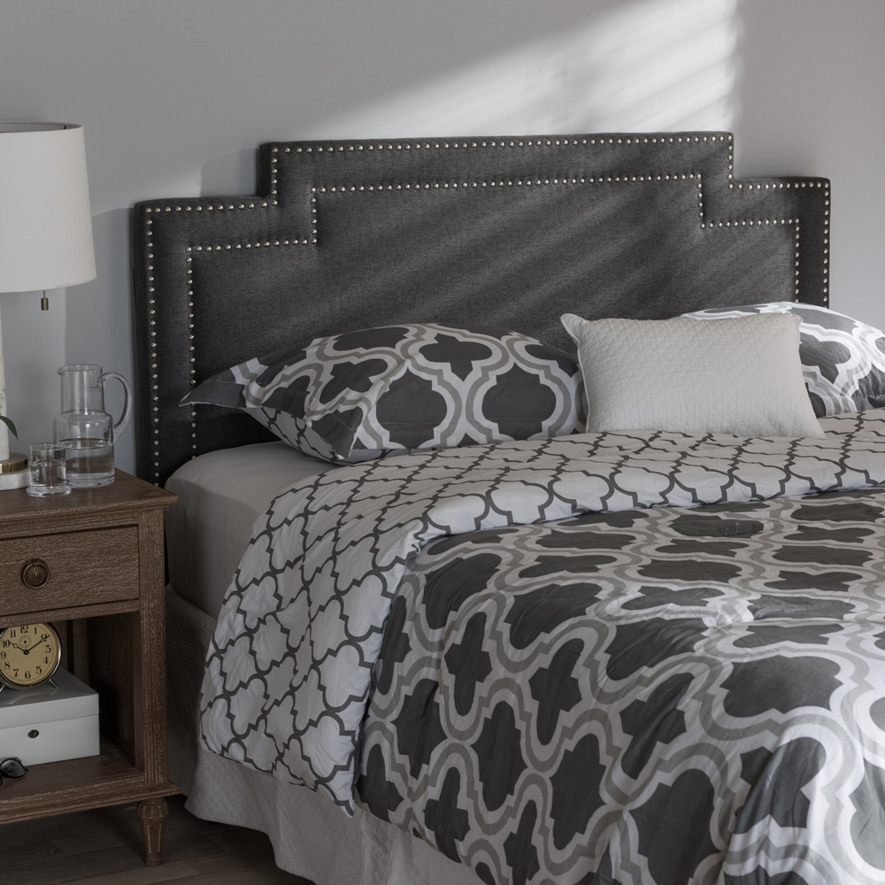 baxton studio casey modern and contemporary dark grey fabric king size headboard. Black Bedroom Furniture Sets. Home Design Ideas