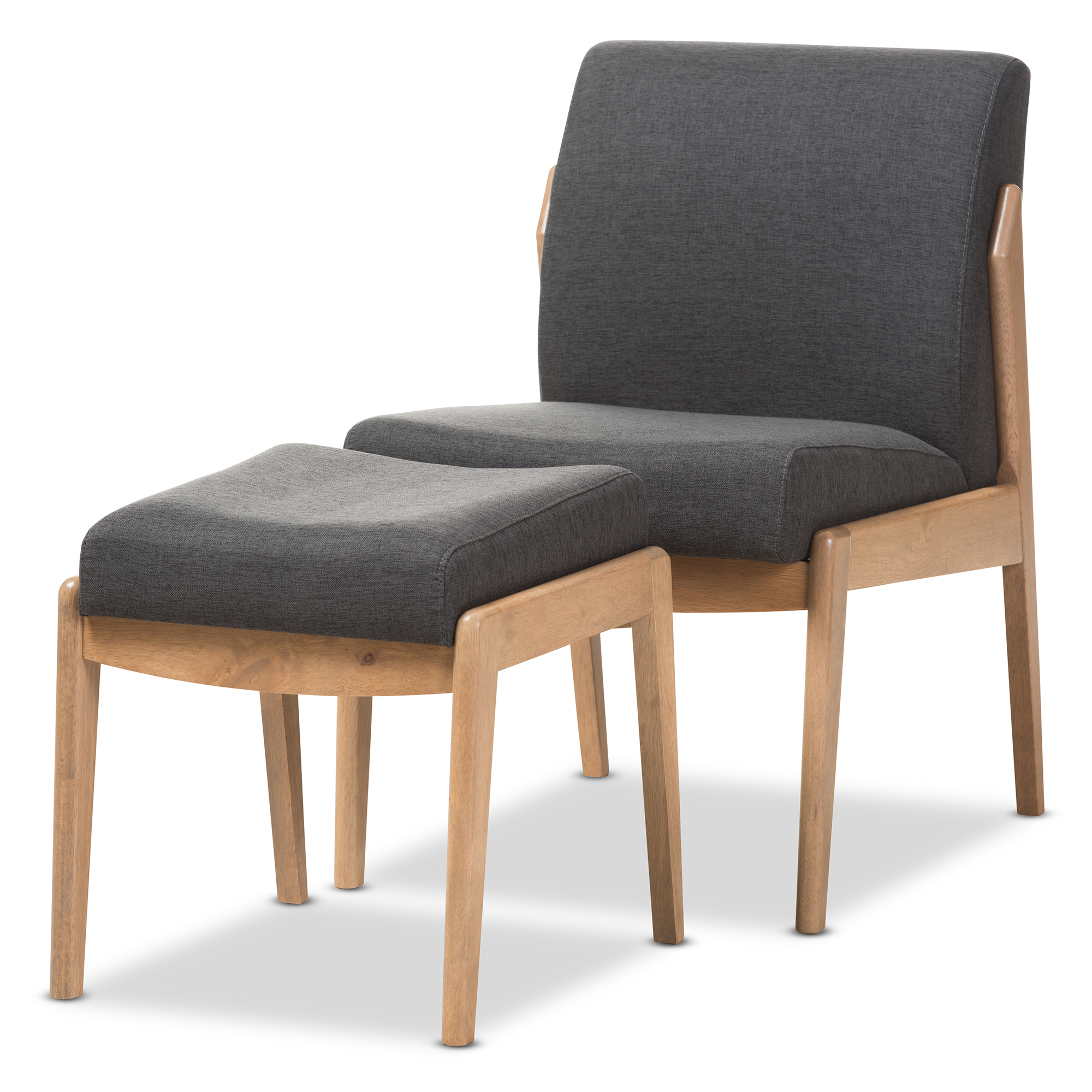 baxton studio wera midcentury retro modern dark grey fabric slipper lounge chair and ottoman