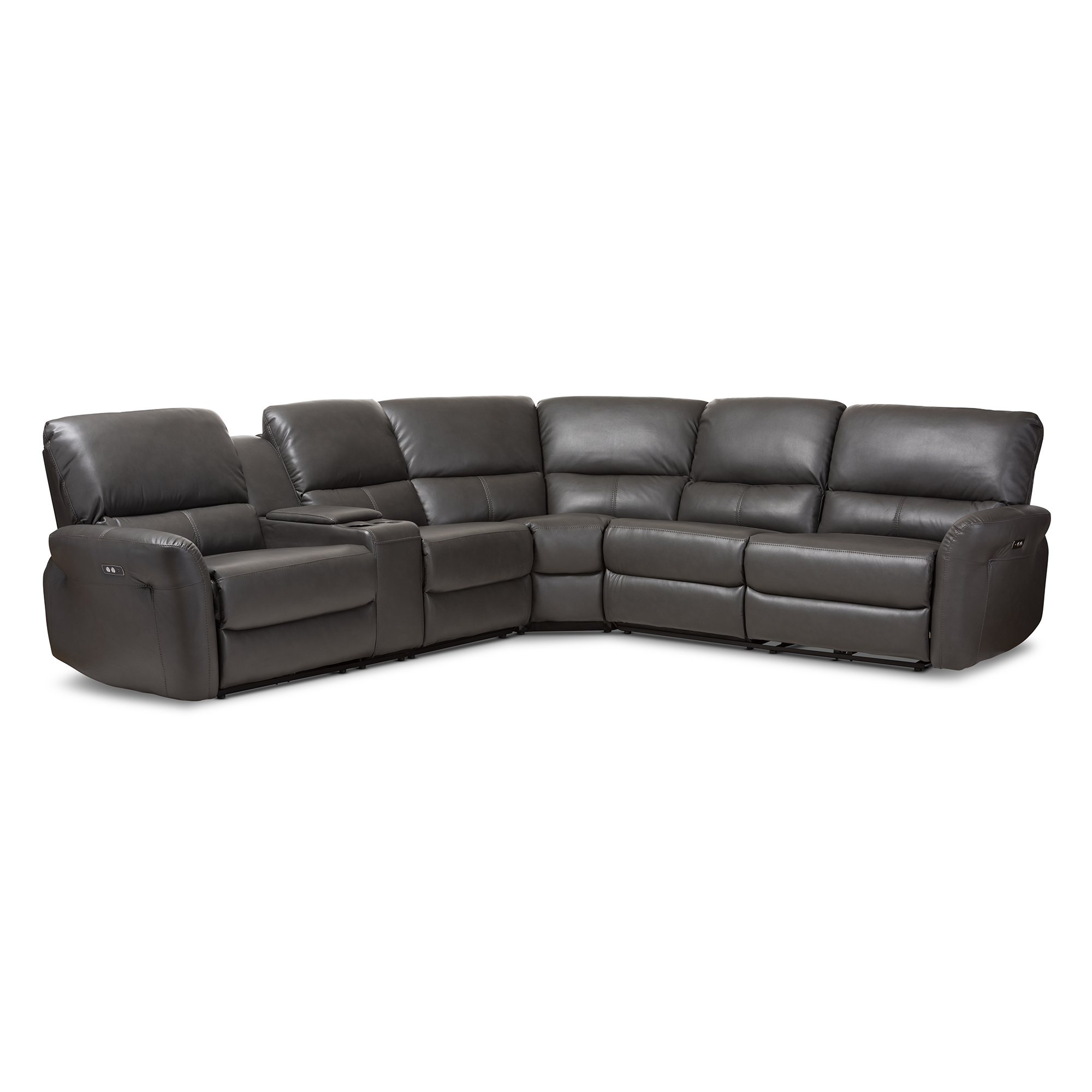 Baxton Studio Amaris Modern And Contemporary Grey Bonded Leather 5 Piece  Power Reclining Sectional Sofa