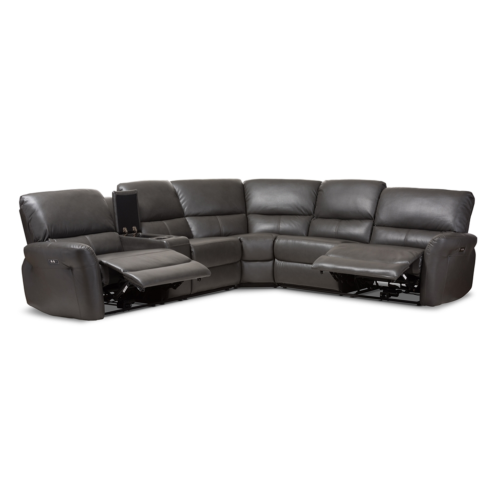 Baxton studio amaris modern and contemporary grey bonded for 5 piece grey sectional sofa