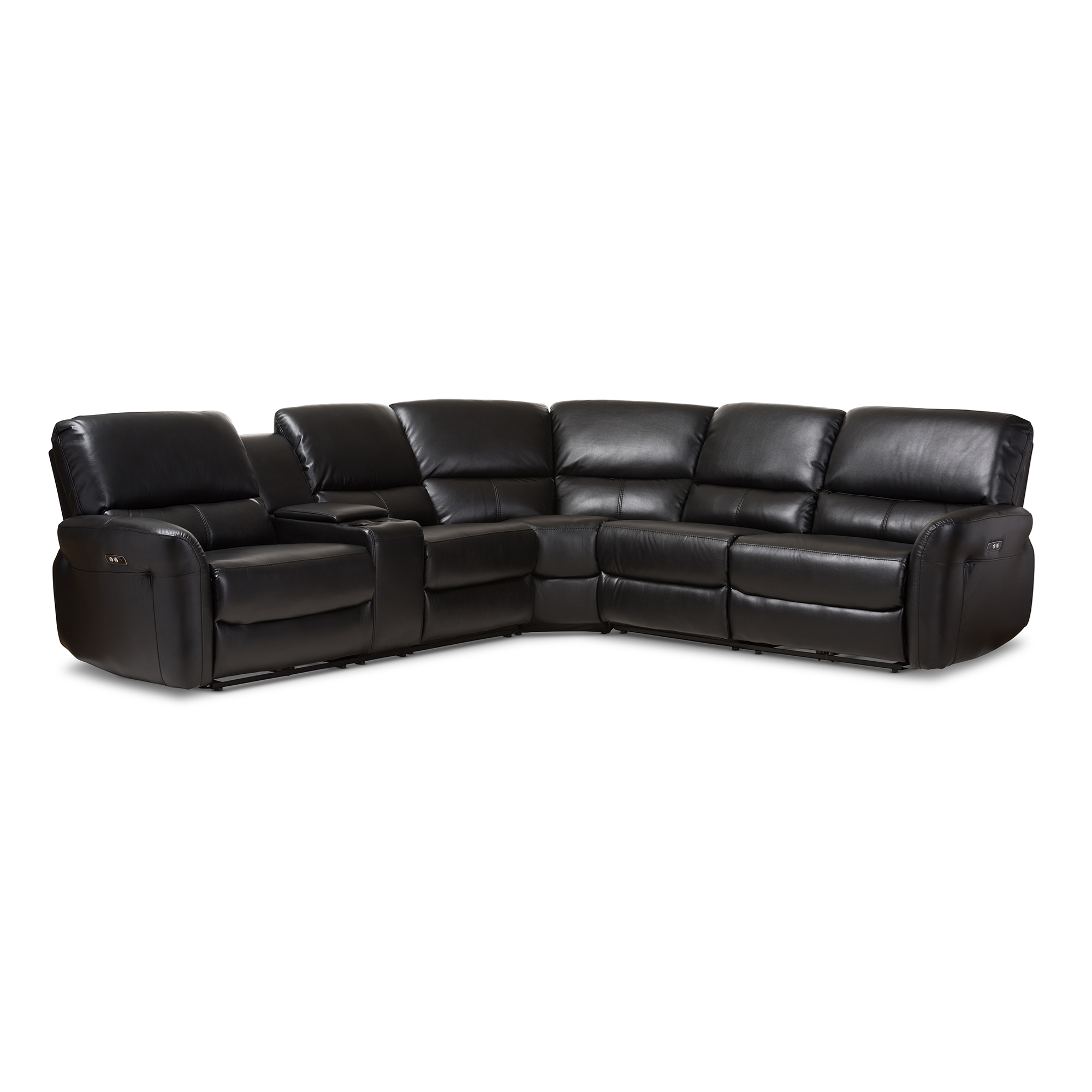 black modern couches. Baxton Studio Amaris Modern And Contemporary Black Bonded Leather 5-Piece Power Reclining Sectional Sofa Couches R