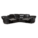 Baxton Studio Amaris Modern and Contemporary Black Bonded Leather 5-Piece Power Reclining Sectional Sofa with USB Ports - BSORX033A-Black-SF