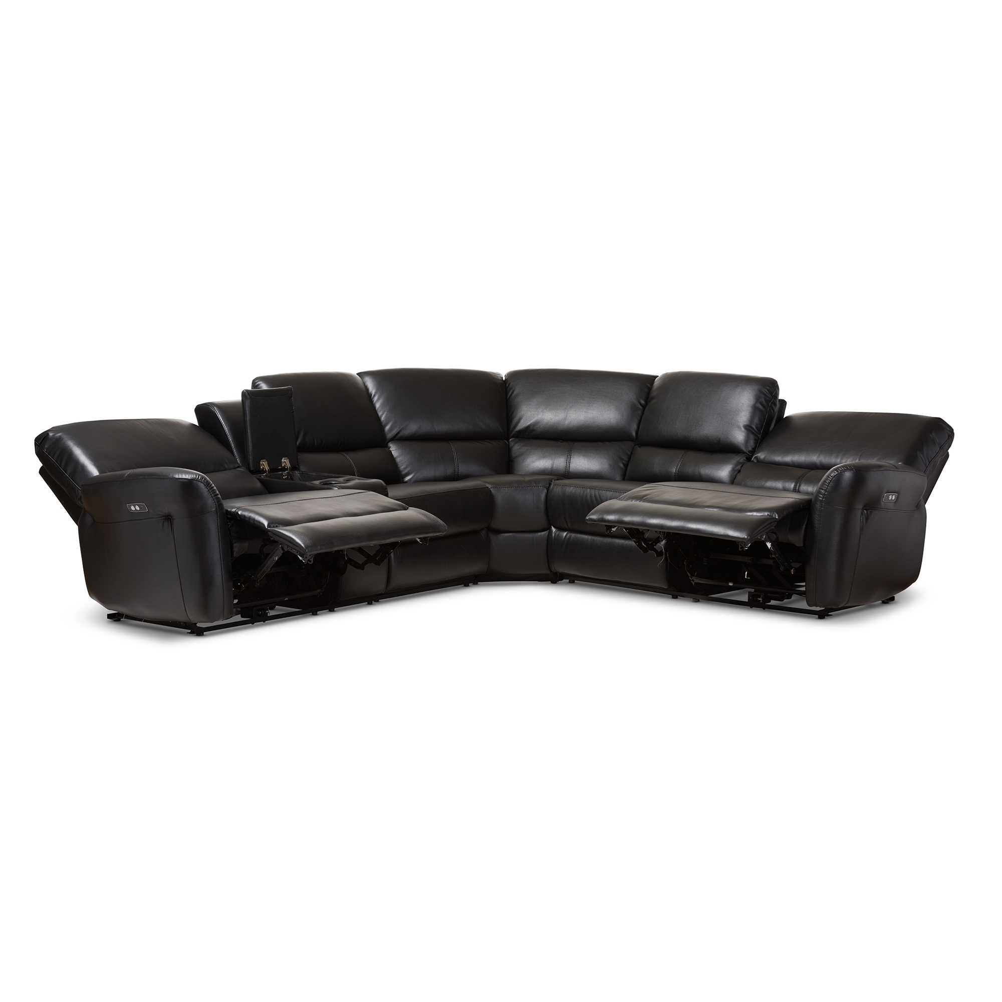 ... Baxton Studio Amaris Modern and Contemporary Black Bonded Leather 5-Piece Power Reclining Sectional Sofa ...  sc 1 st  Baxton Studio Outlet & Baxton Studio Amaris Modern and Contemporary Black Bonded Leather ... islam-shia.org