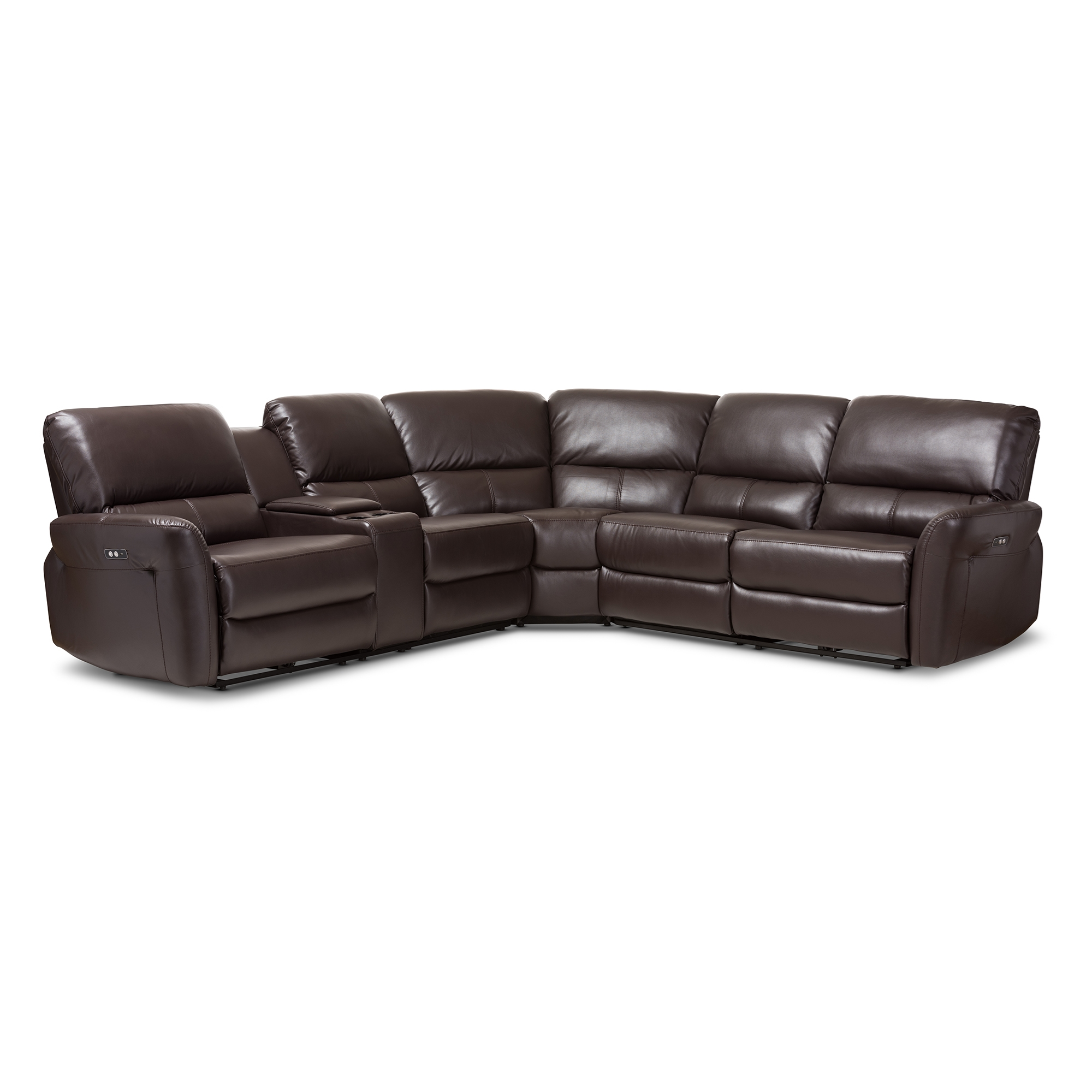 baxton studio amaris modern and dark brown bonded leather 5piece power reclining sectional