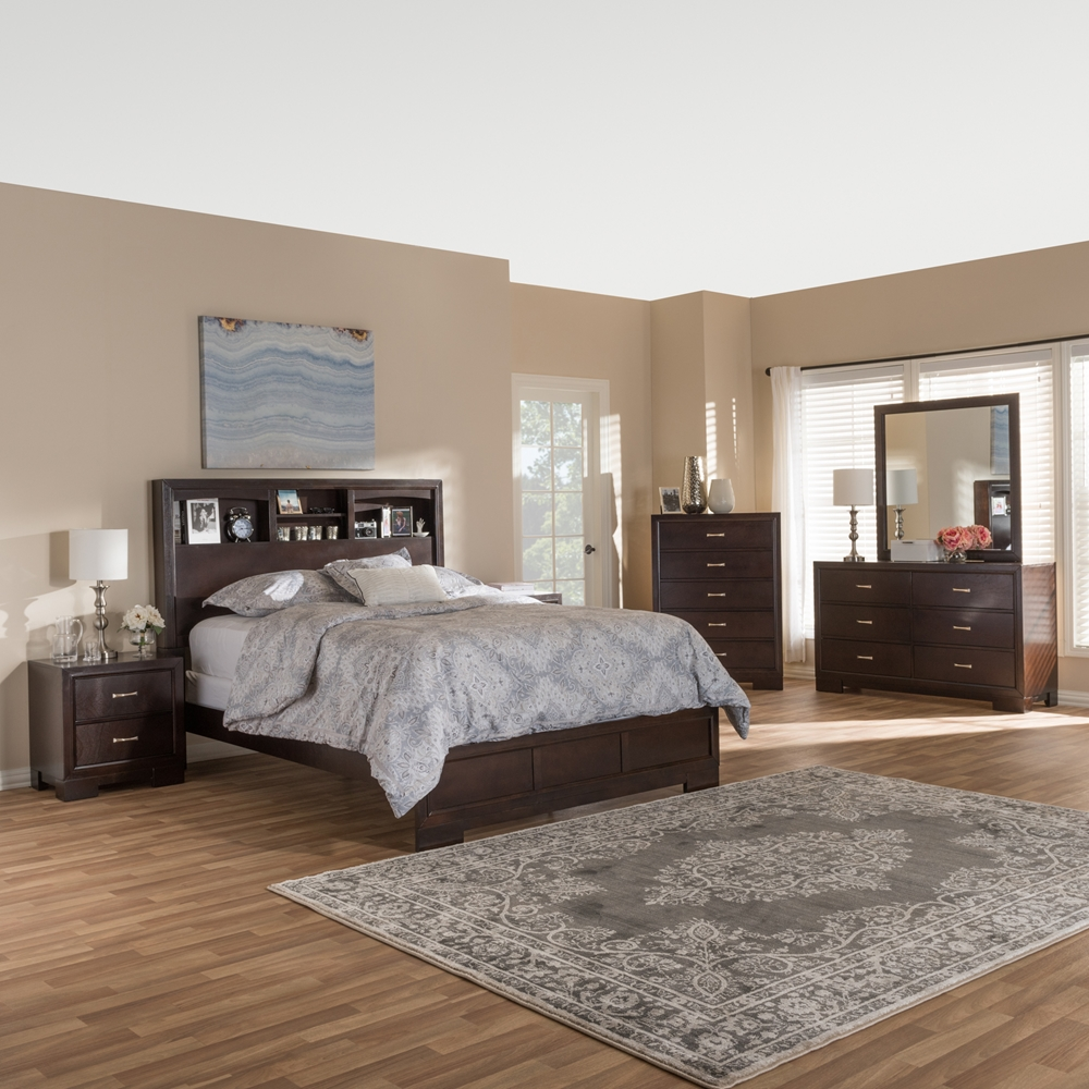 walnut bedroom set.  Baxton Studio Padma Modern and Contemporary Walnut Brown Finished Wood 6 Piece Queen Size Bedroom