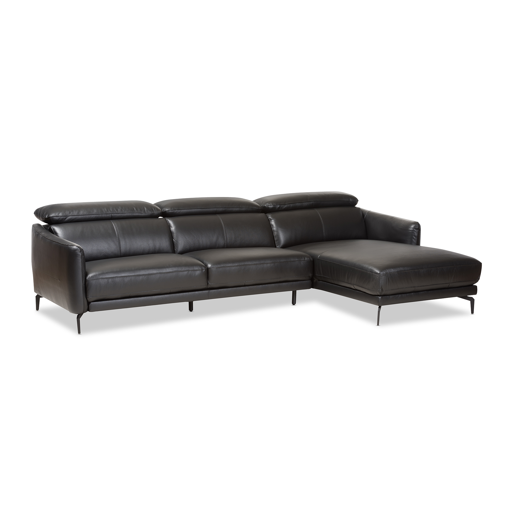 Baxton Studio Paige Modern And Contemporary Black Leather Right Facing  Chaise 2 Piece Sectional Sofa