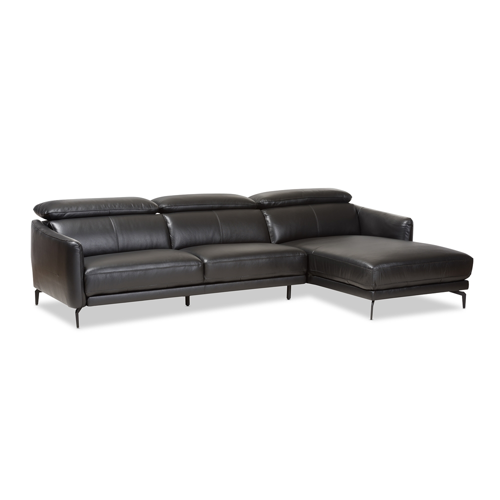 Baxton Studio Paige Modern And Contemporary Black Leather Right  ~ Modern Black Sectional Sofa
