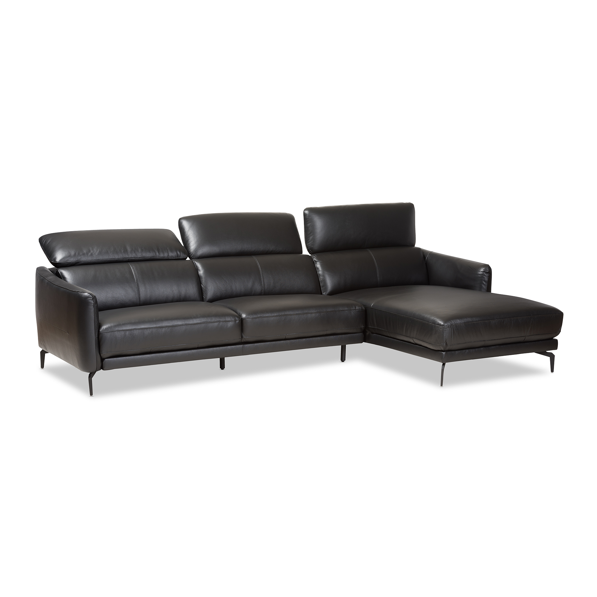 ... Baxton Studio Paige Modern and Contemporary Black Leather Right Facing Chaise 2-Piece Sectional Sofa ...  sc 1 st  Baxton Studio Outlet : 2 piece sectional sofa with chaise - Sectionals, Sofas & Couches