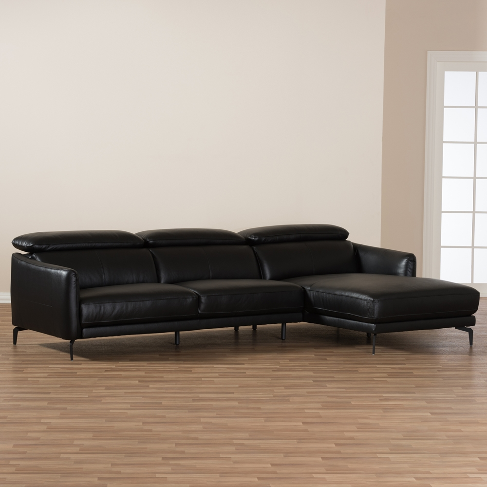 Baxton Studio Paige Modern And Contemporary Black Leather Right - 2 piece sectional sofas