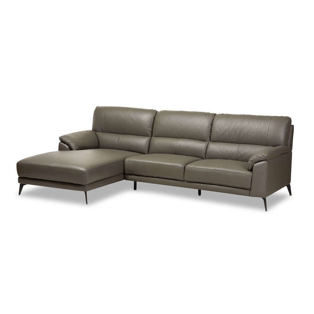 Baxton Studio Radford Modern And Contemporary Dark Grey Leather  ~ Dark Grey Leather Sectional Sofa