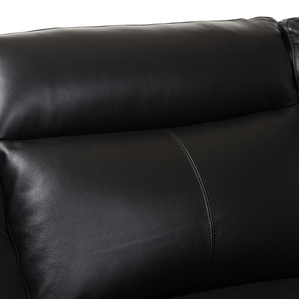 Baxton studio rabbie modern and contemporary black leather for Black leather sectional with chaise