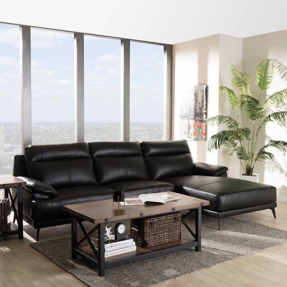 Baxton Studio Rabbie Modern And Contemporary Black Leather
