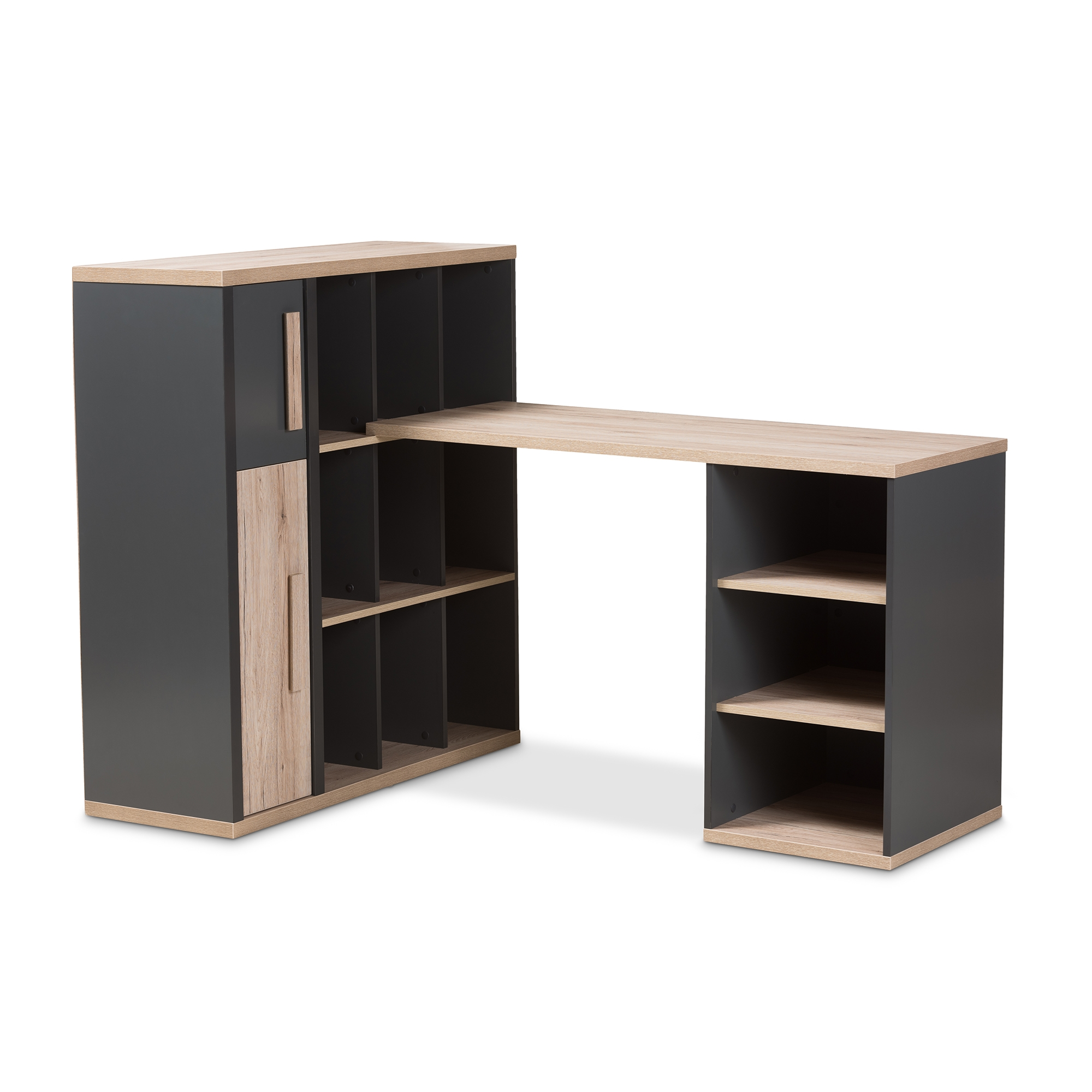 Baxton Studio Pandora Modern And Contemporary Dark Grey Light Brown Two Tone Study Desk With Built In Shelving Unit