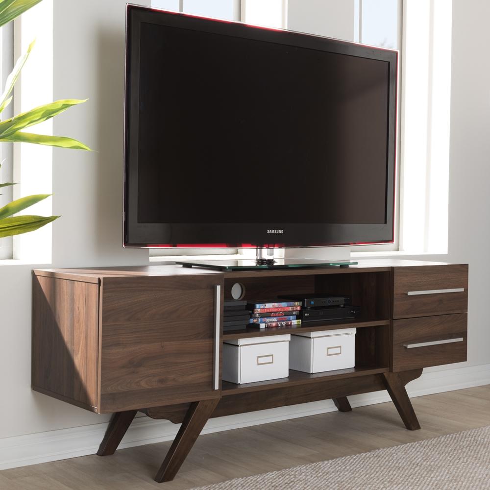 Baxton Studio Ashfield Mid Century Modern Walnut Brown Finished Wood Tv Stand